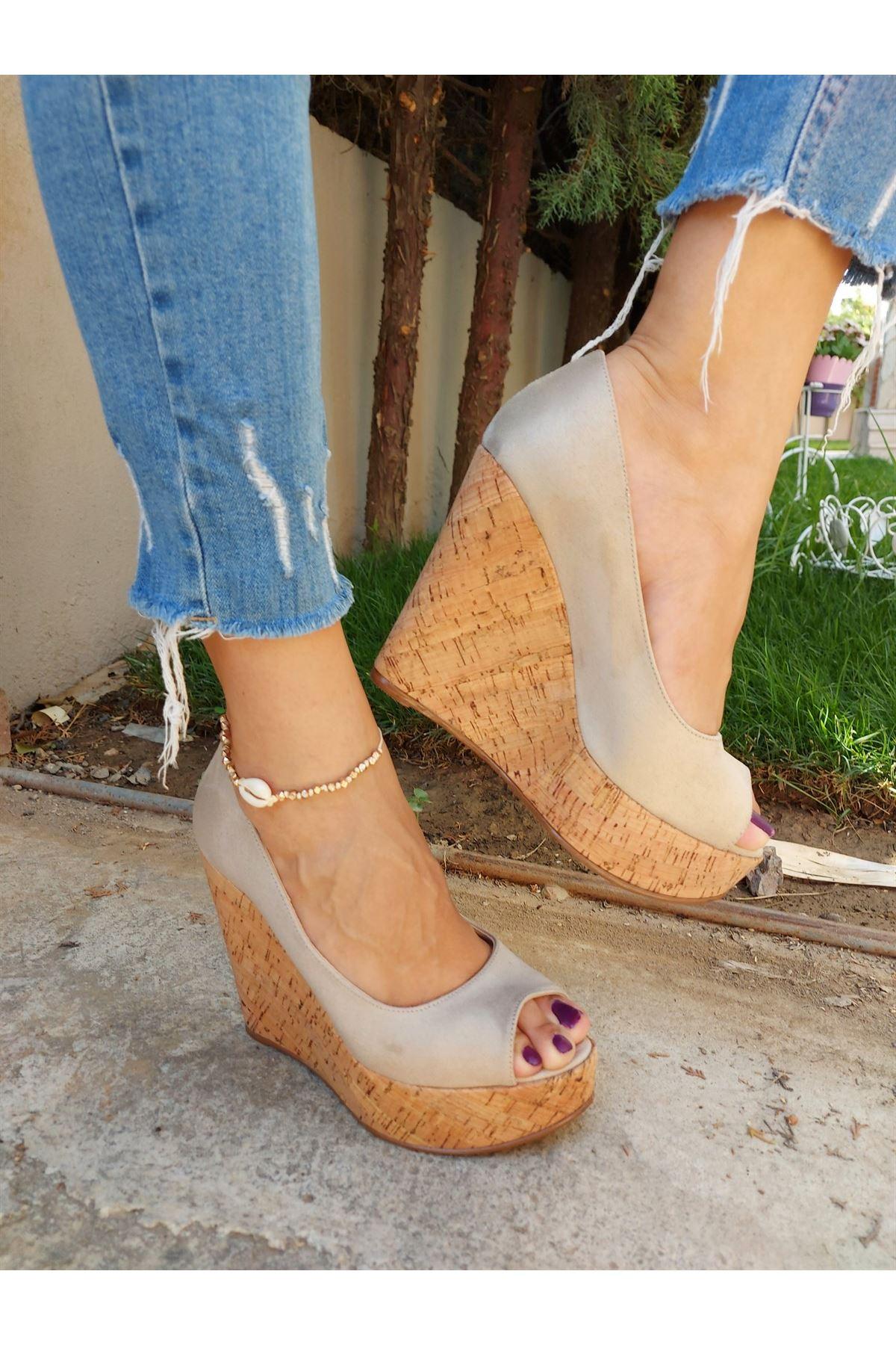 Angel Ten Süet - Mantar Dolgu Topuklu Ayakkabı