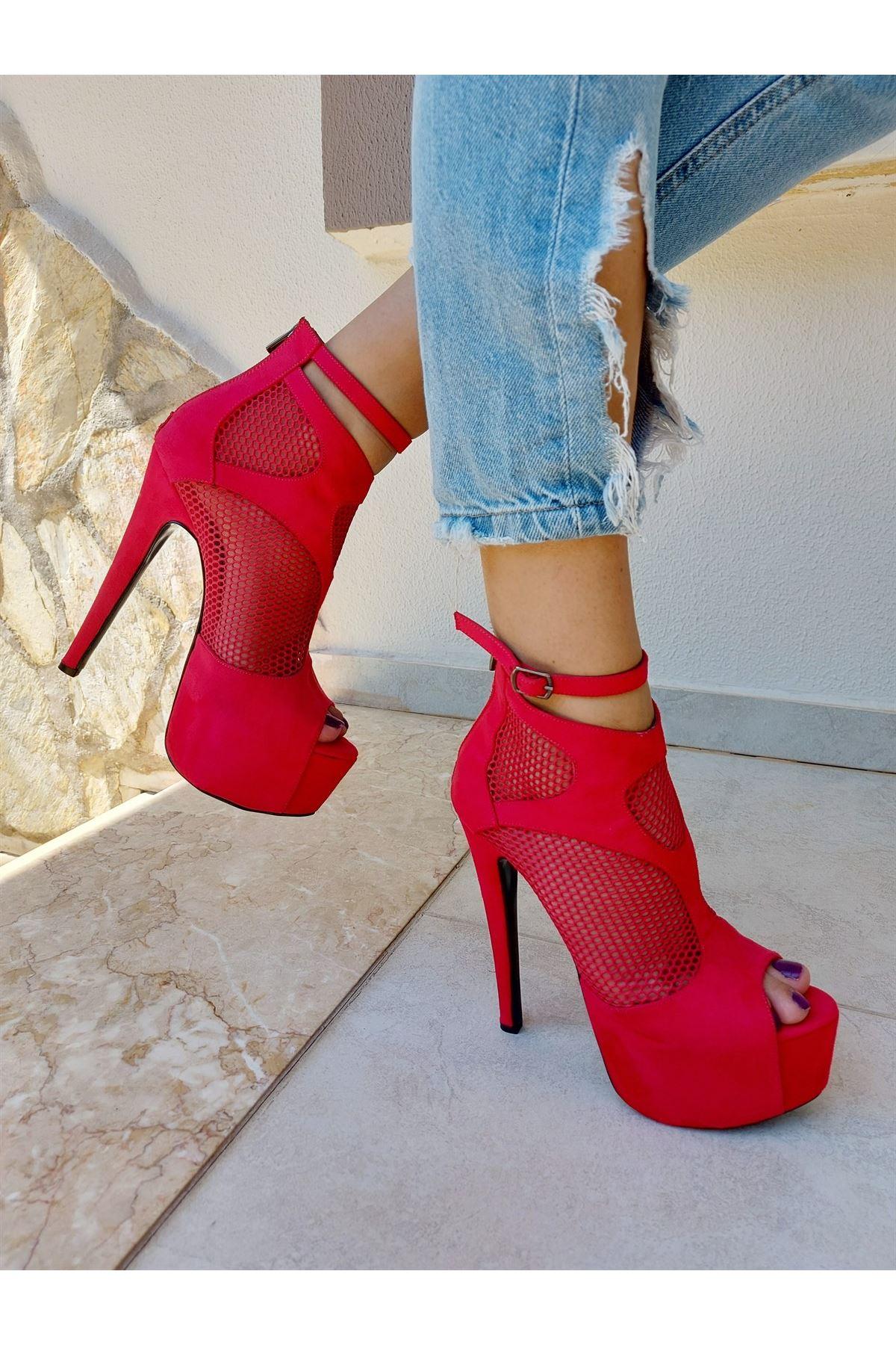 Lea Kırmızı Süet Kırmızı Fileli Yüksek Topuklu Ayakkabı