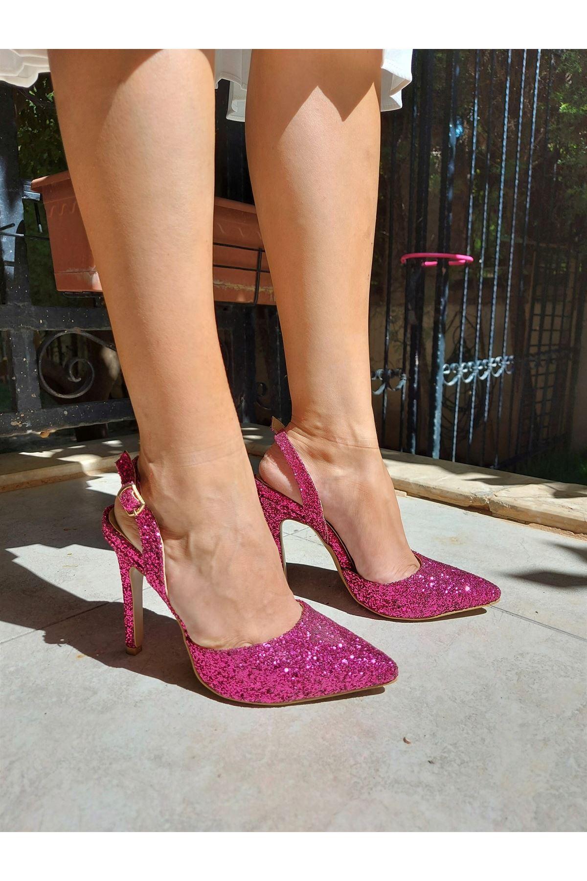 Joyce Fuşya Pullu Topuklu Ayakkabı