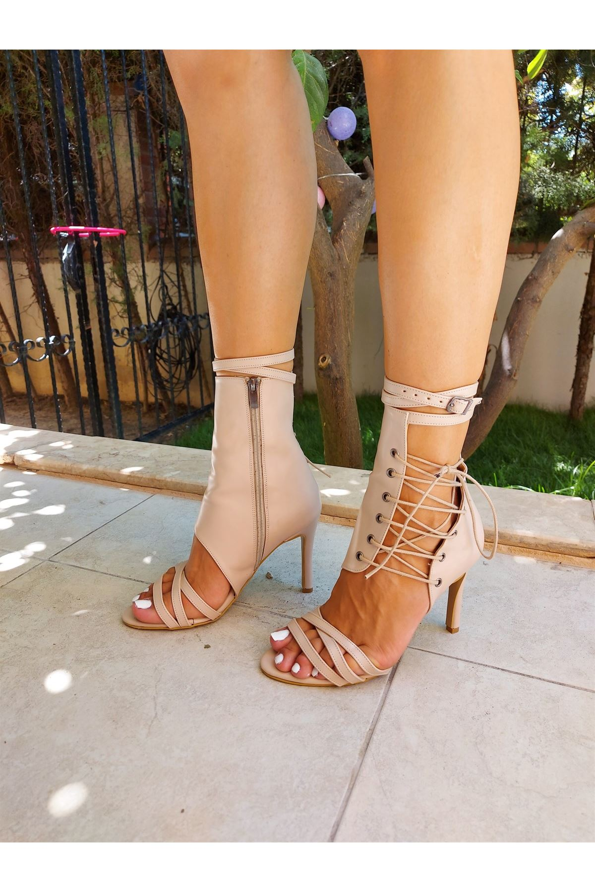 Cara Ten Cilt Bağcıklı Topuklu Ayakkabı