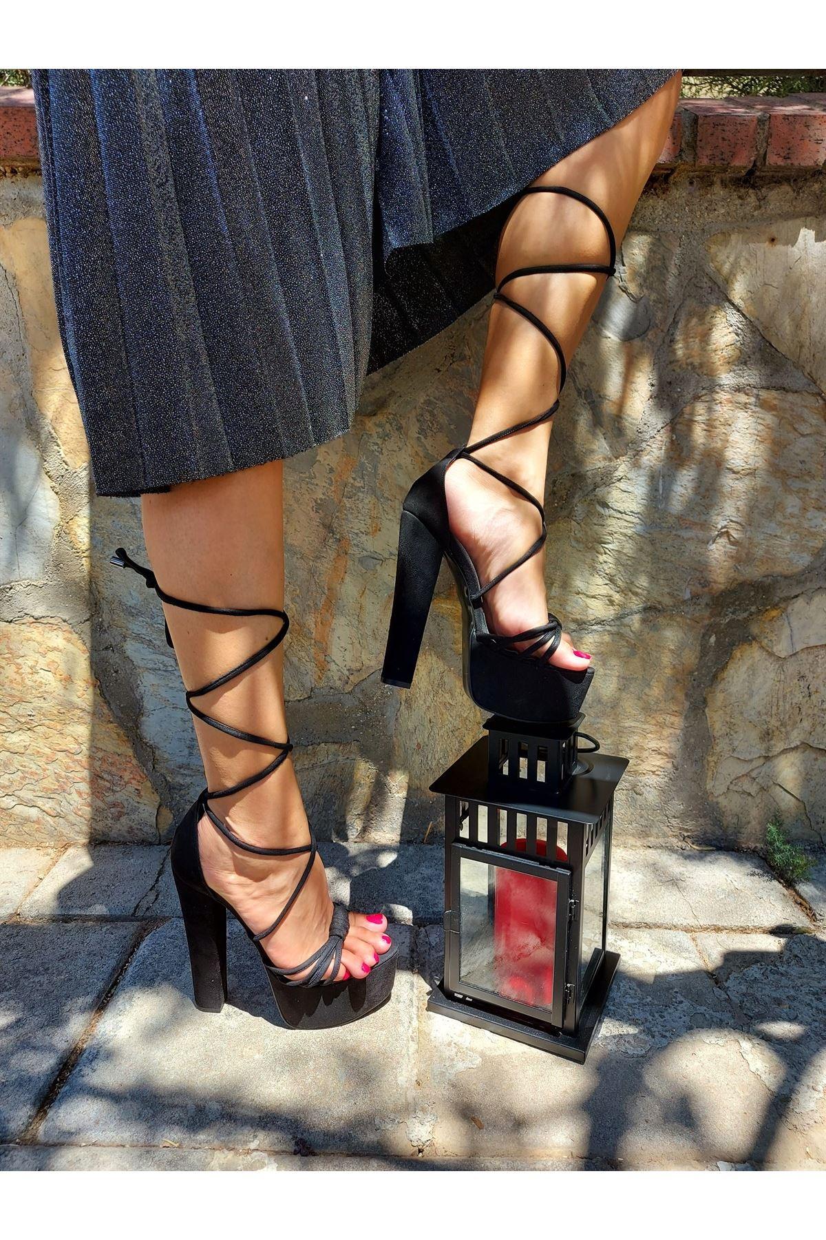 Olivia Siyah Süet Piyeli Yüksek Topuklu Ayakkabı