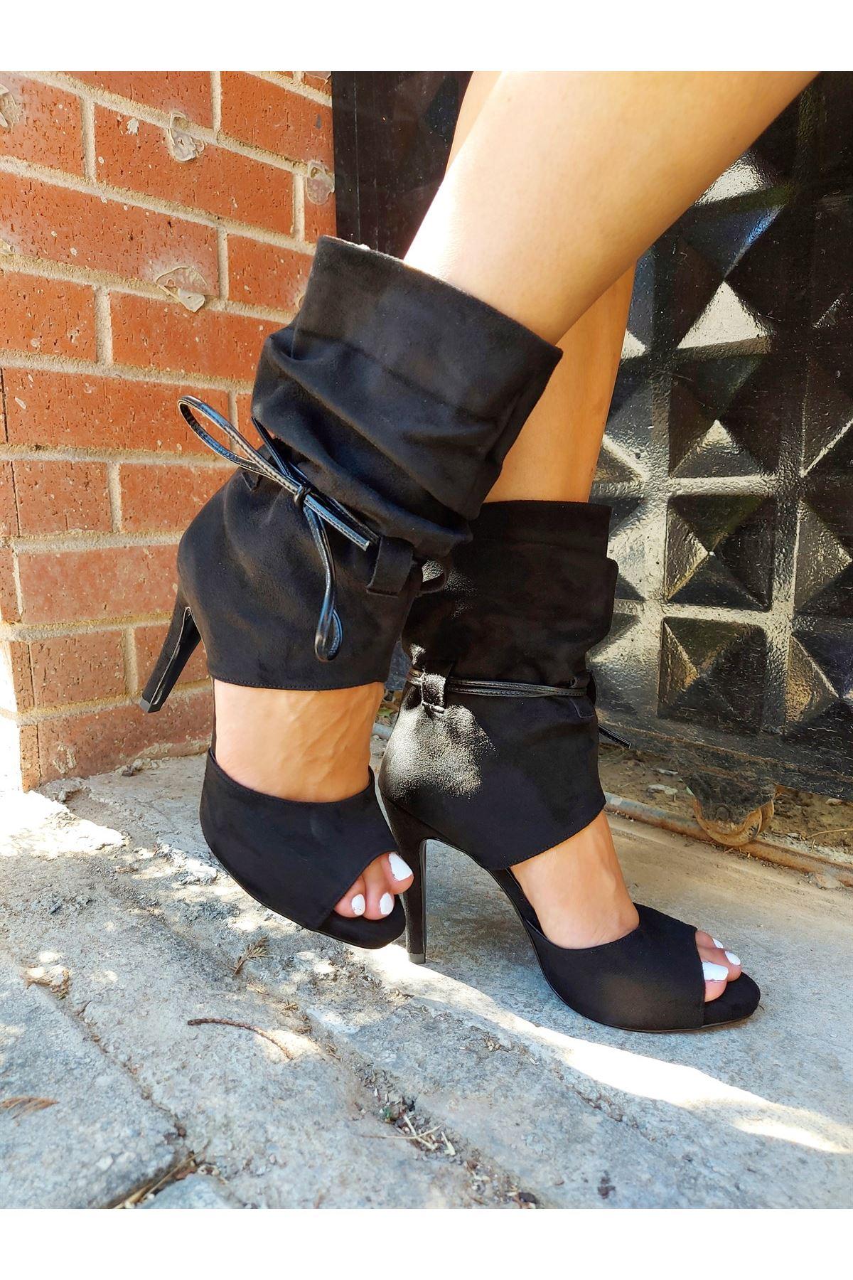 Hope Siyah Süet Topuklu Ayakkabı