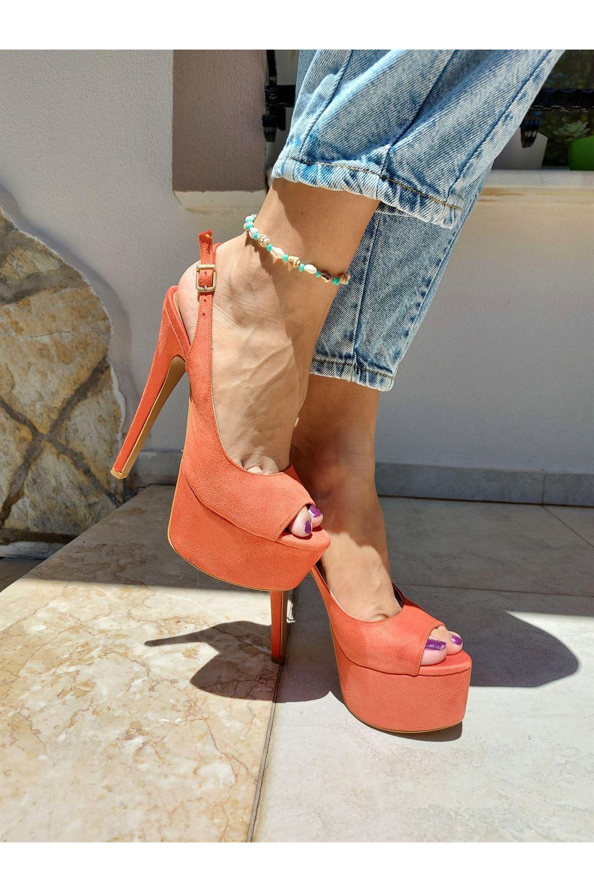 Ruby Turuncu Süet Yüksek Topuklu Ayakkabı