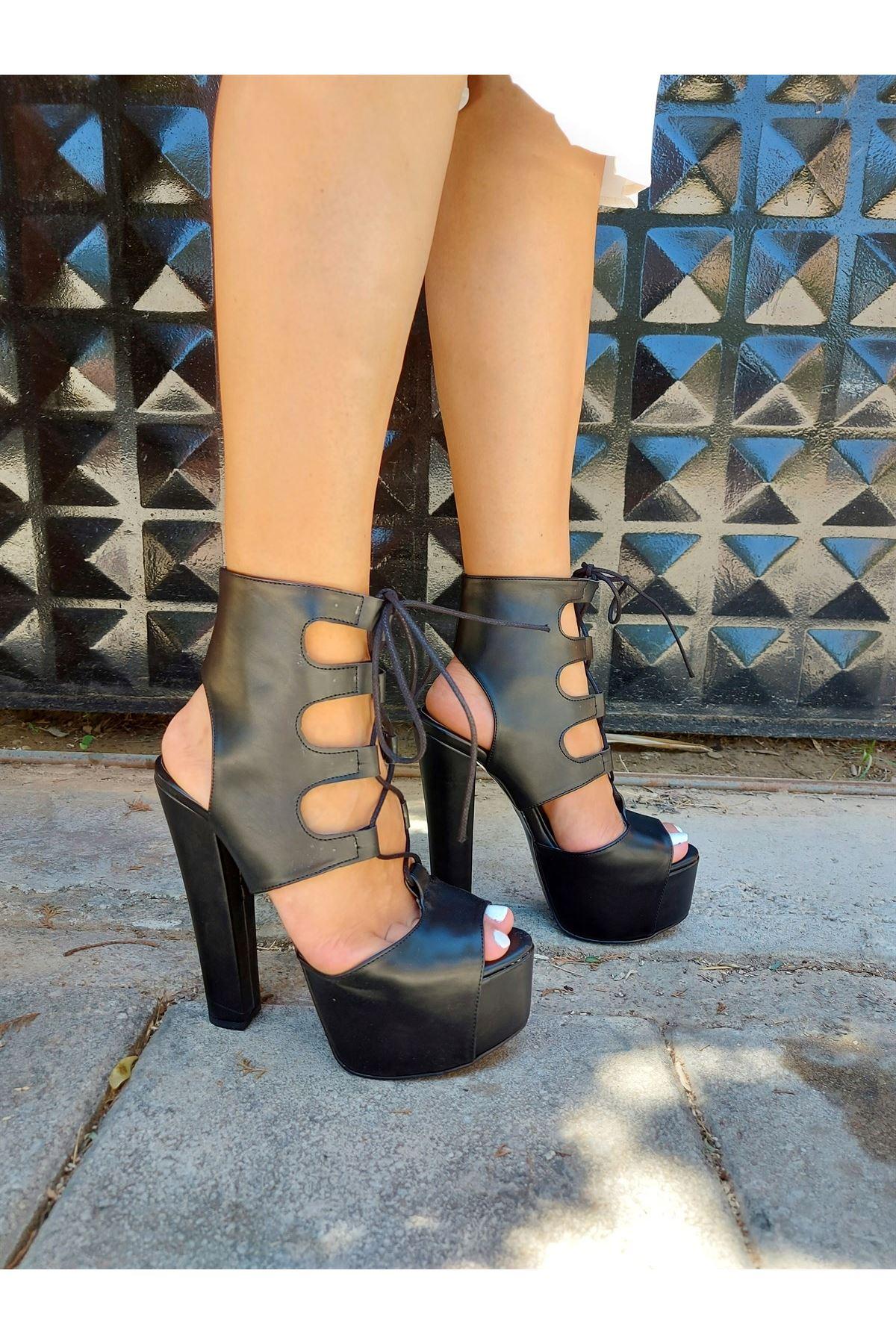 Ember Siyah Cilt Bağcıklı Yüksek Topuklu Ayakkabı