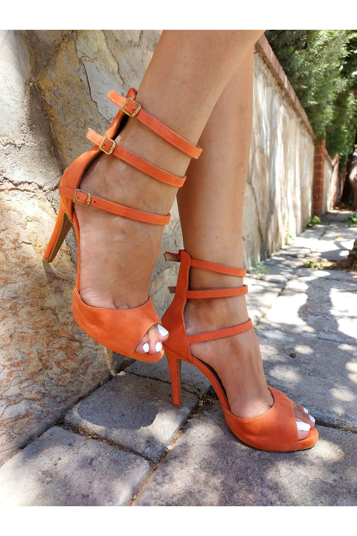 Isabella Turuncu Süet Topuklu Ayakkabı