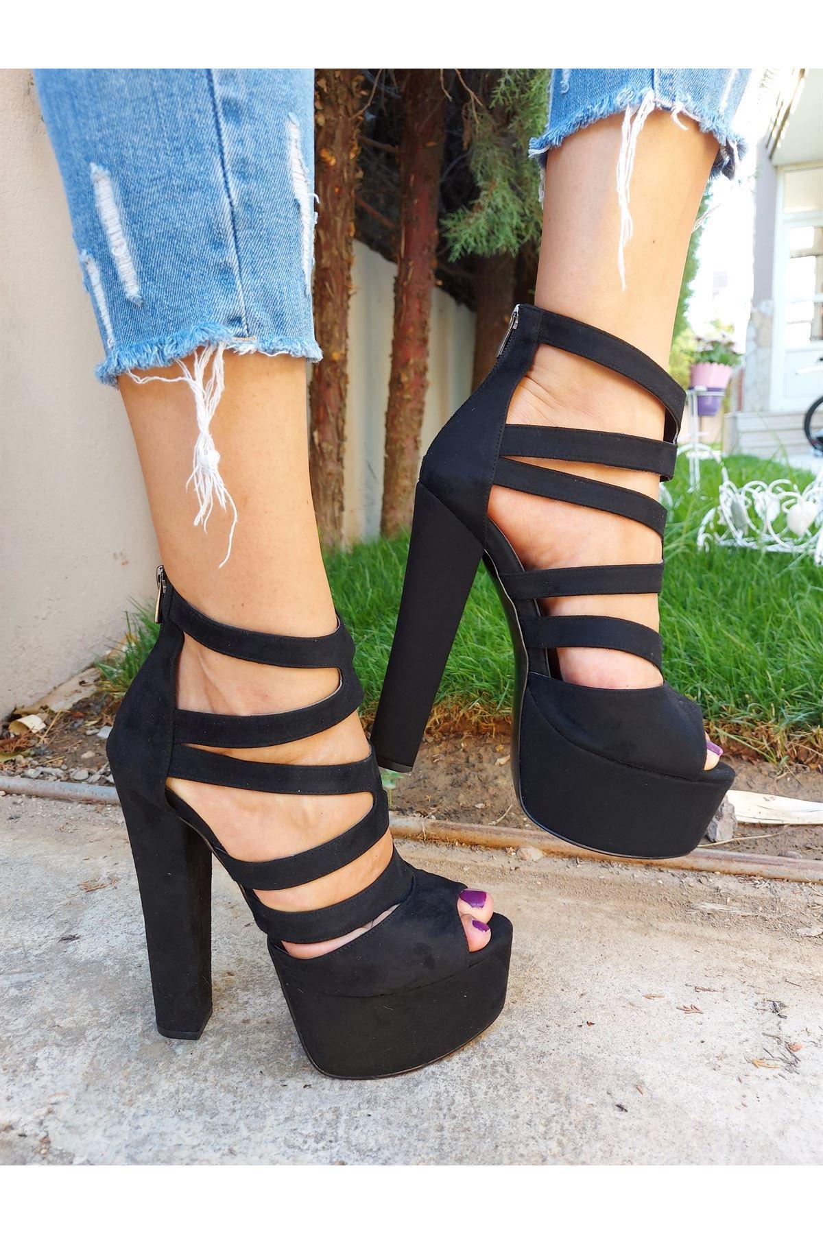 Julia Siyah Süet Yüksek Topuklu Ayakkabı