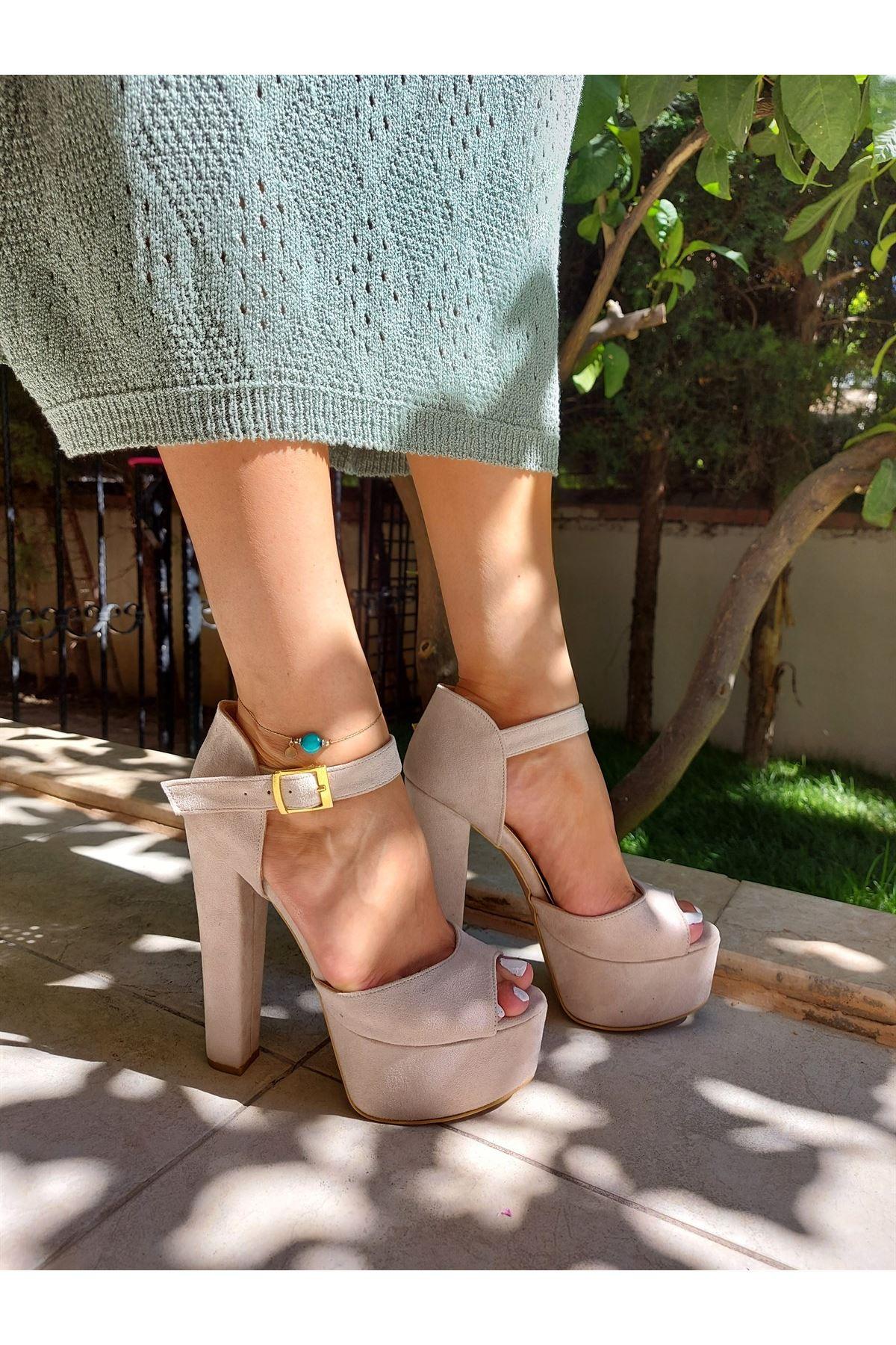 Lenora Ten Süet Yüksek Topuklu Ayakkabı