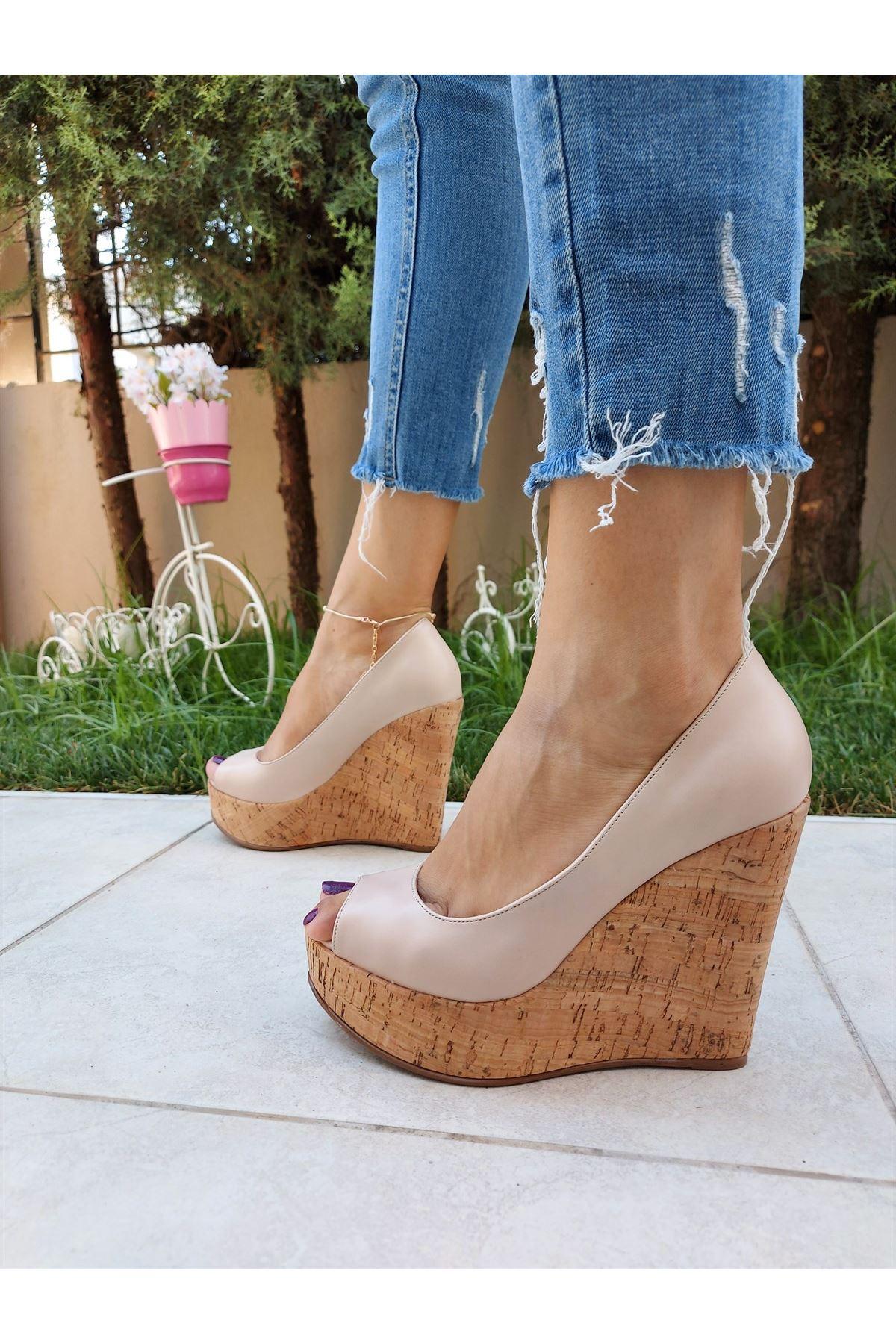 Angel Pudra Cilt - Mantar Dolgu Topuklu Ayakkabı