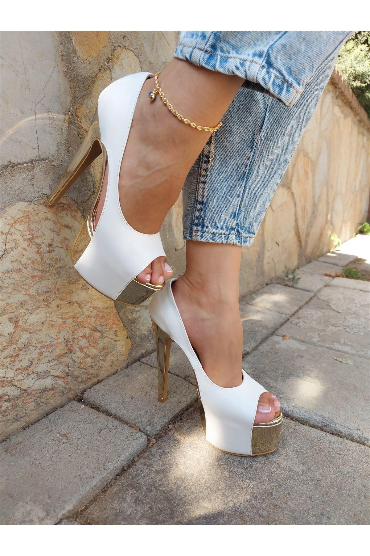 Chloe Beyaz Cilt - Gold Yüksek Topuklu Ayakkabı