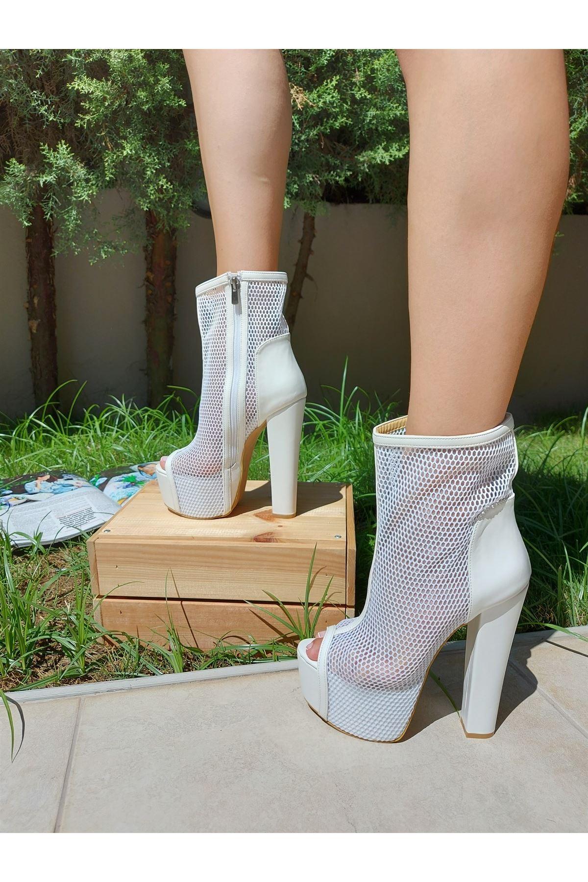 Yoko Beyaz Cilt - Beyaz Fileli Yüksek Topuklu Ayakkabı