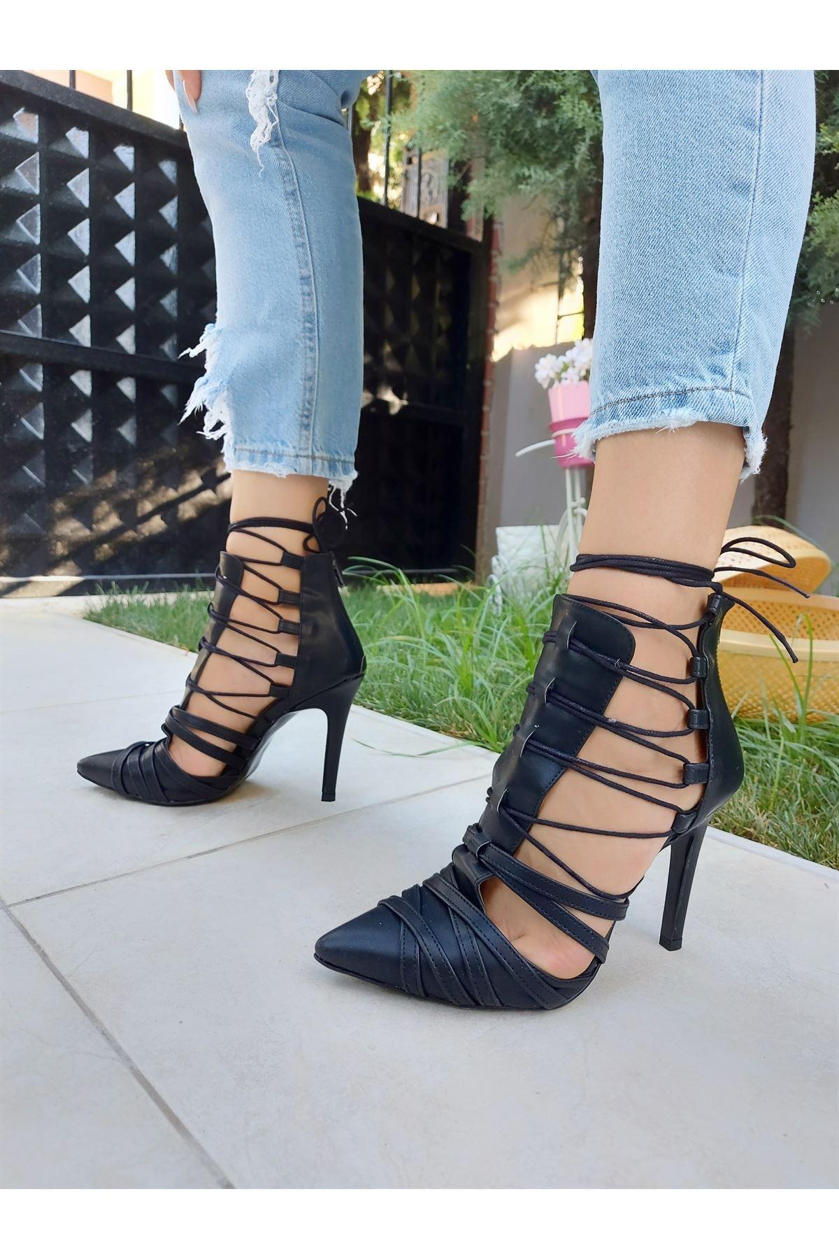 Long Siyah Cilt Bağcıklı Topuklu Ayakkabı