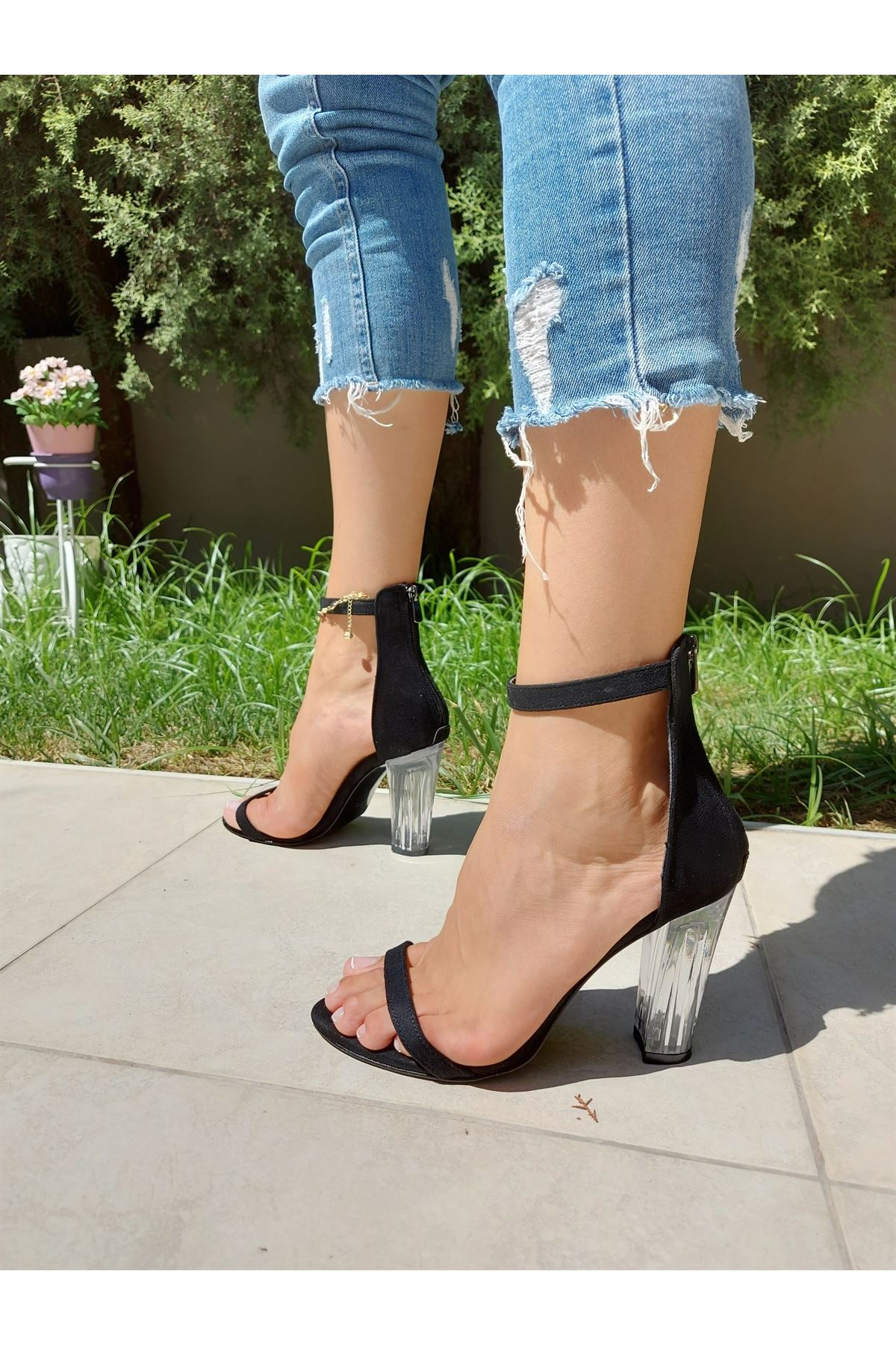 Aurora Siyah Süet Şeffaf Topuklu Ayakkabı