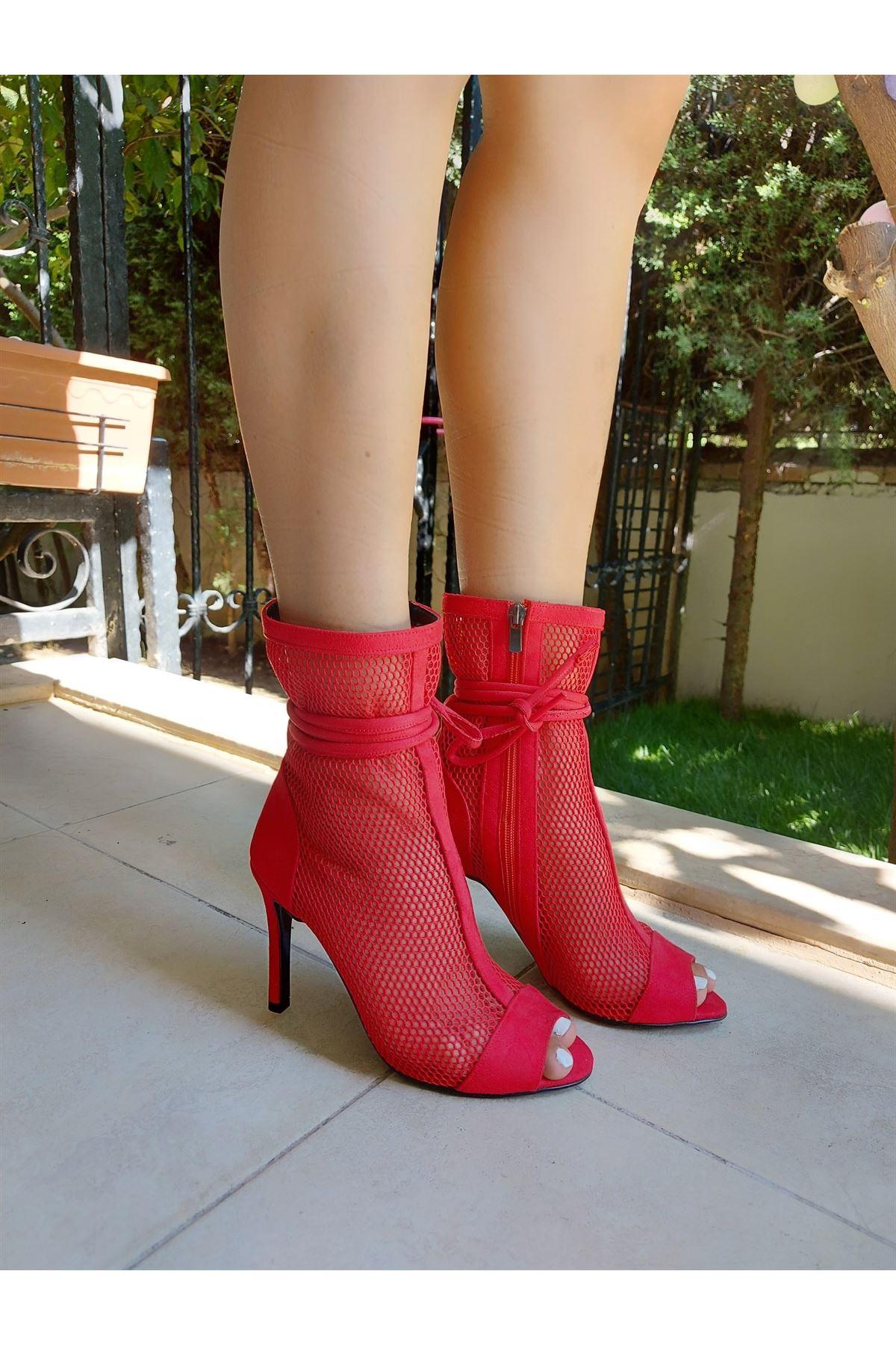 Donna Kırmızı Süet - Kırmızı File Topuklu Ayakkabı