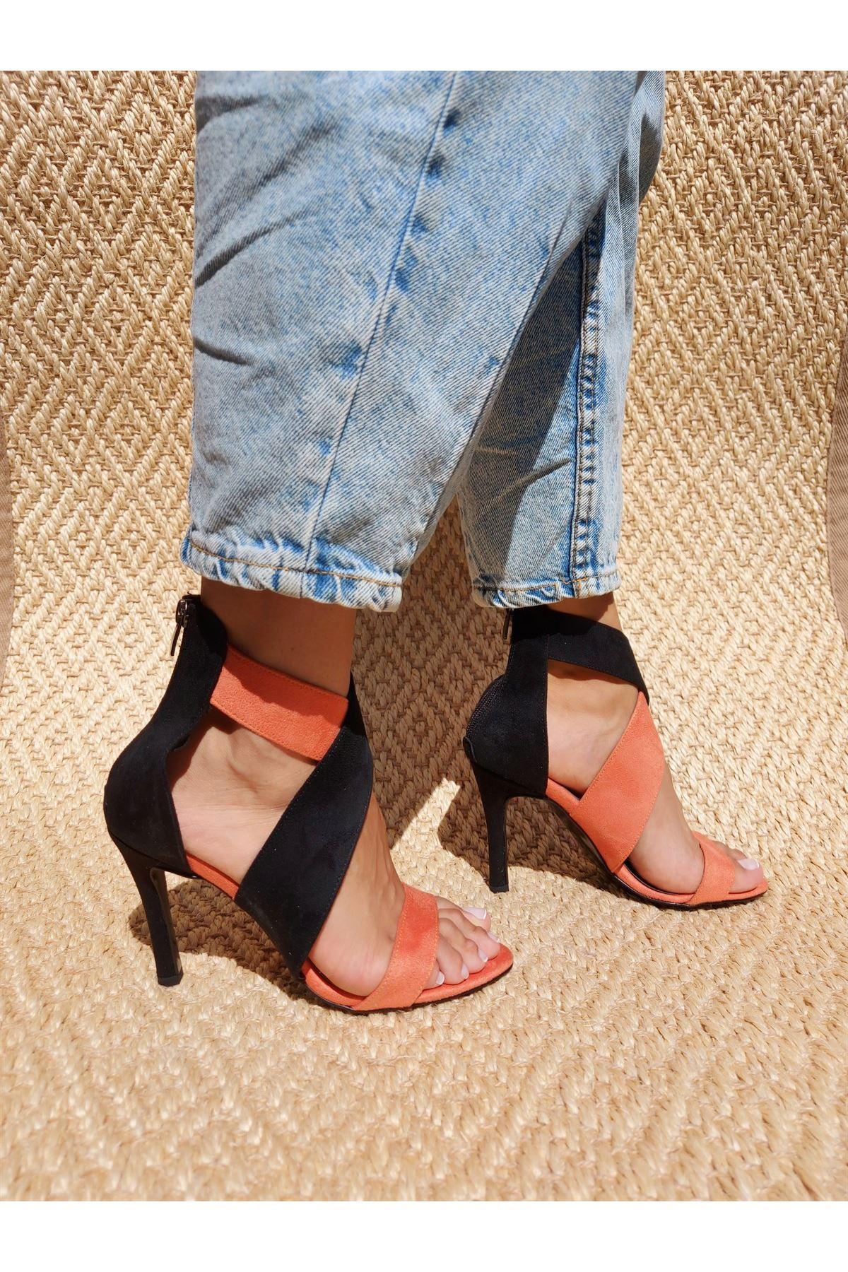 Xana Siyah-Turuncu Çapraz Topuklu Ayakkabı