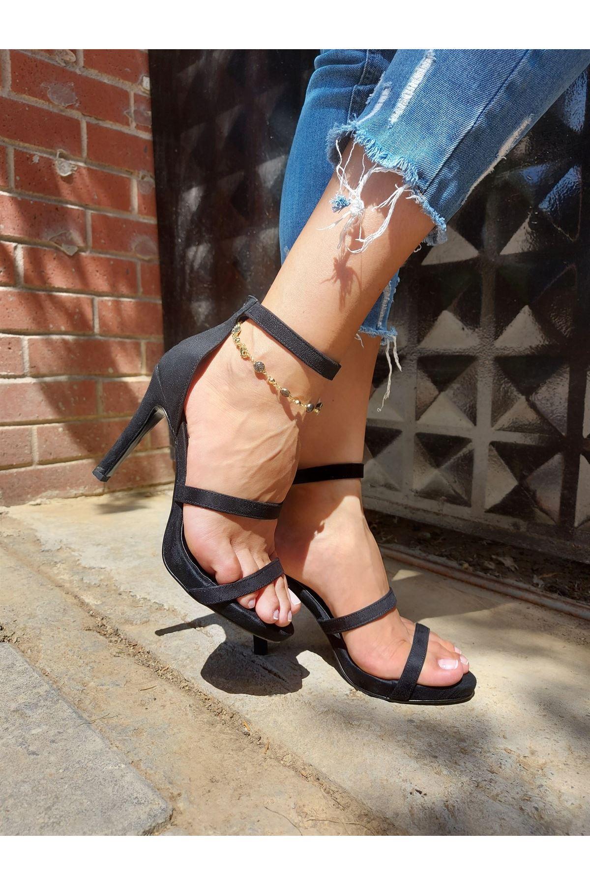 Angelina Siyah Süet Topuklu Ayakkabı