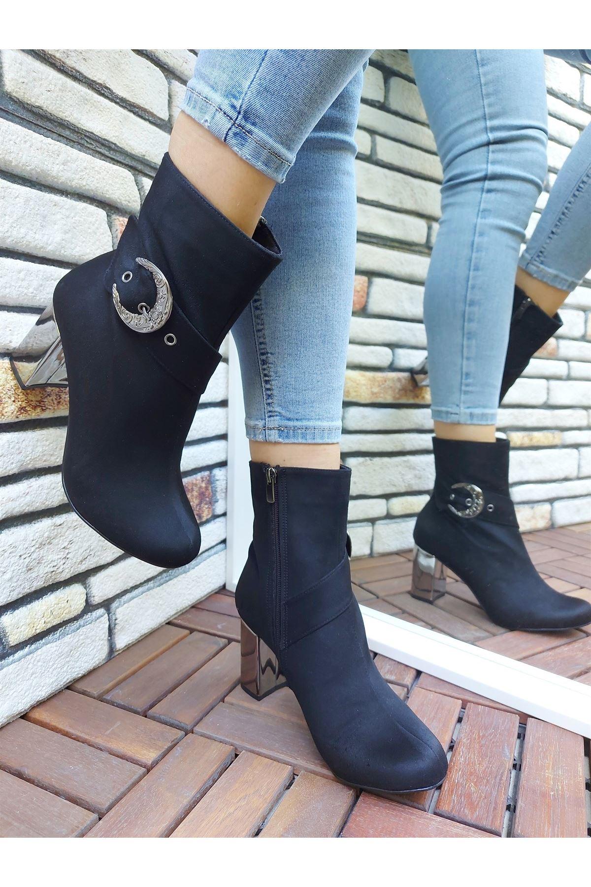 Marco Tokalı Siyah-Platin Kalın Topuklu Bot