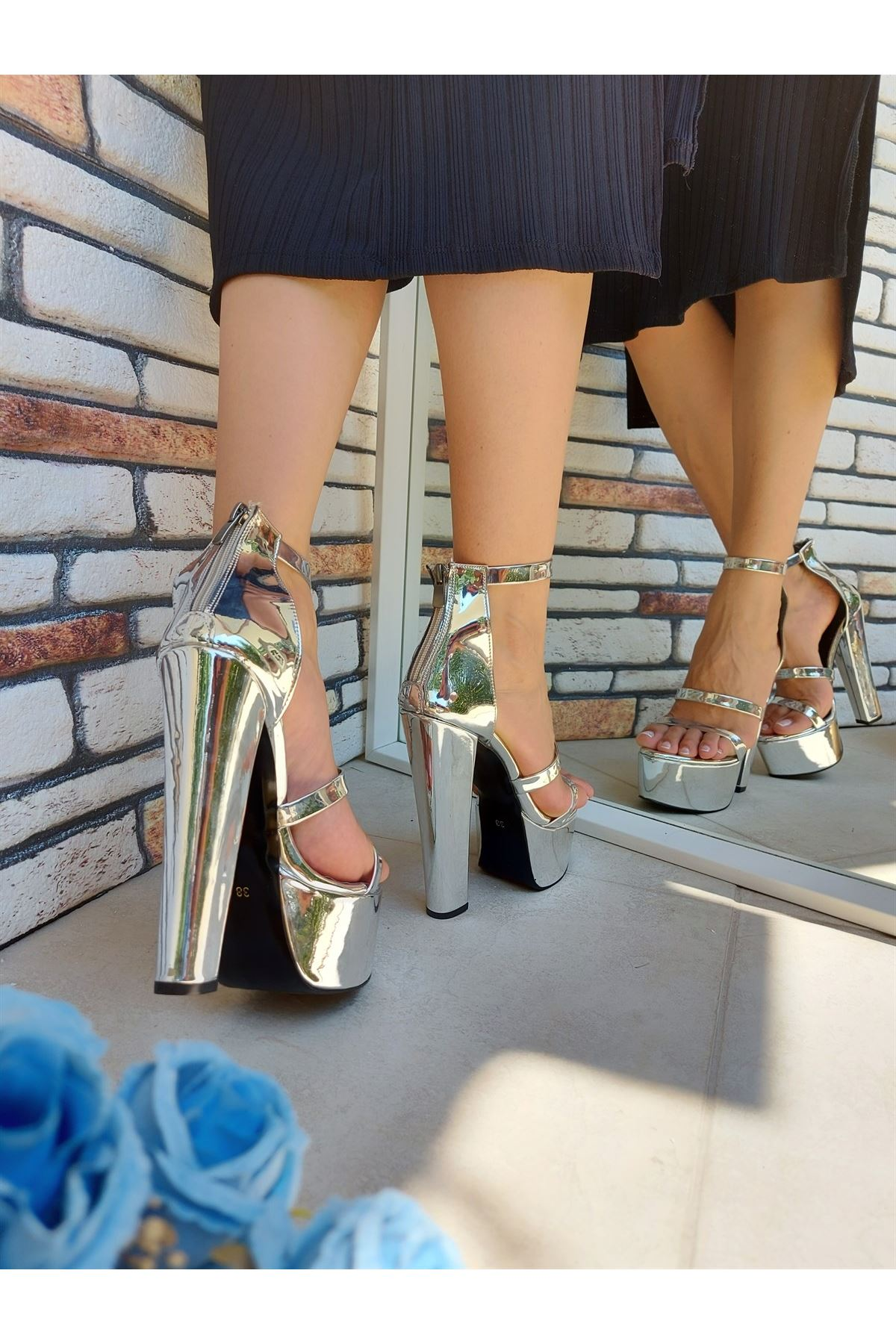 Angelina Silver Ayna Yüksek Topuklu Ayakkabı