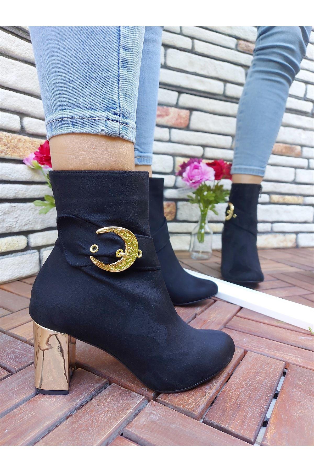 Marco Tokalı Siyah-Gold Kalın Topuklu Bot