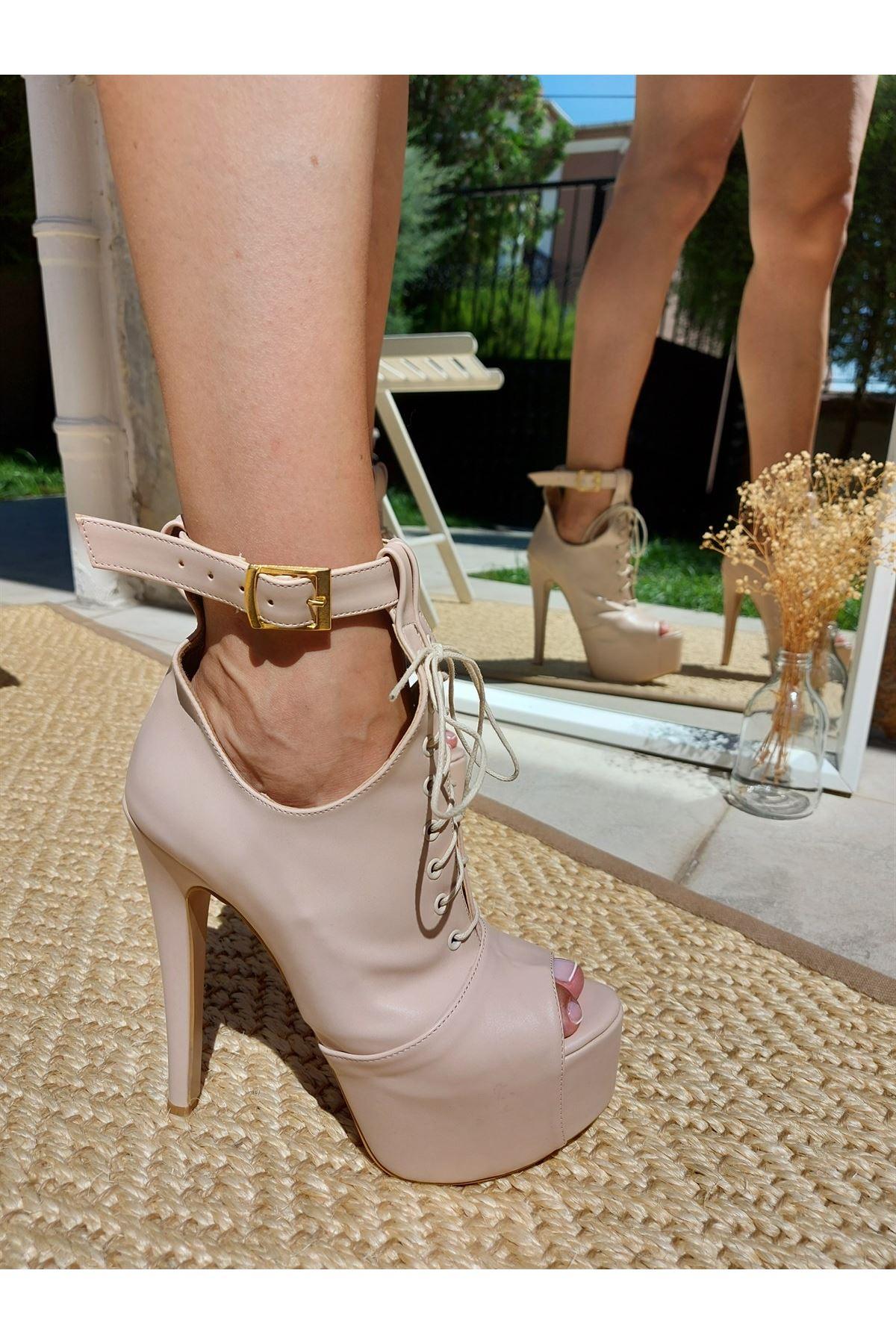 Faye Ten Cilt Baretli Yüksek Topuklu Ayakkabı