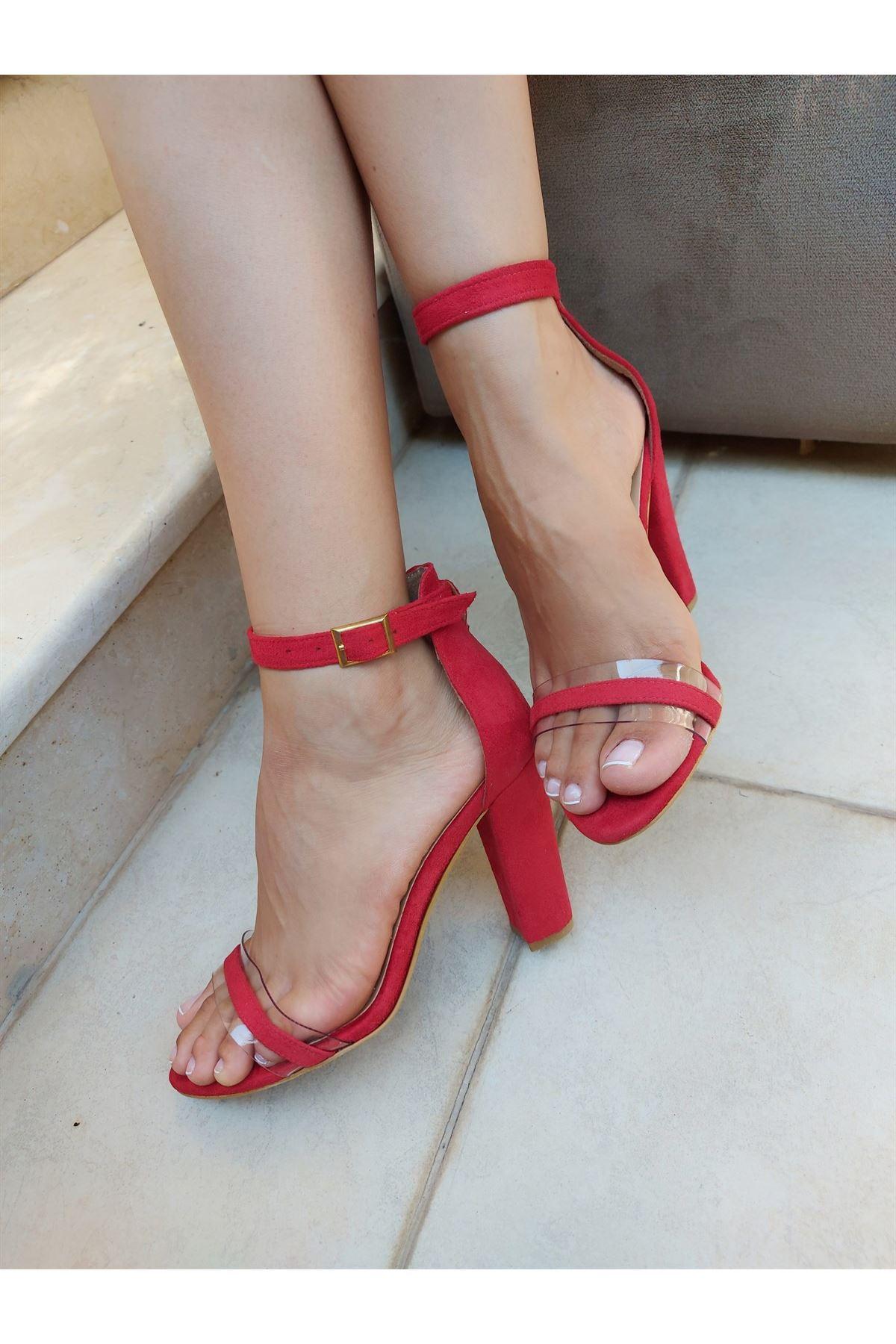 Dagian Kırmızı Süet Topuklu Ayakkabı