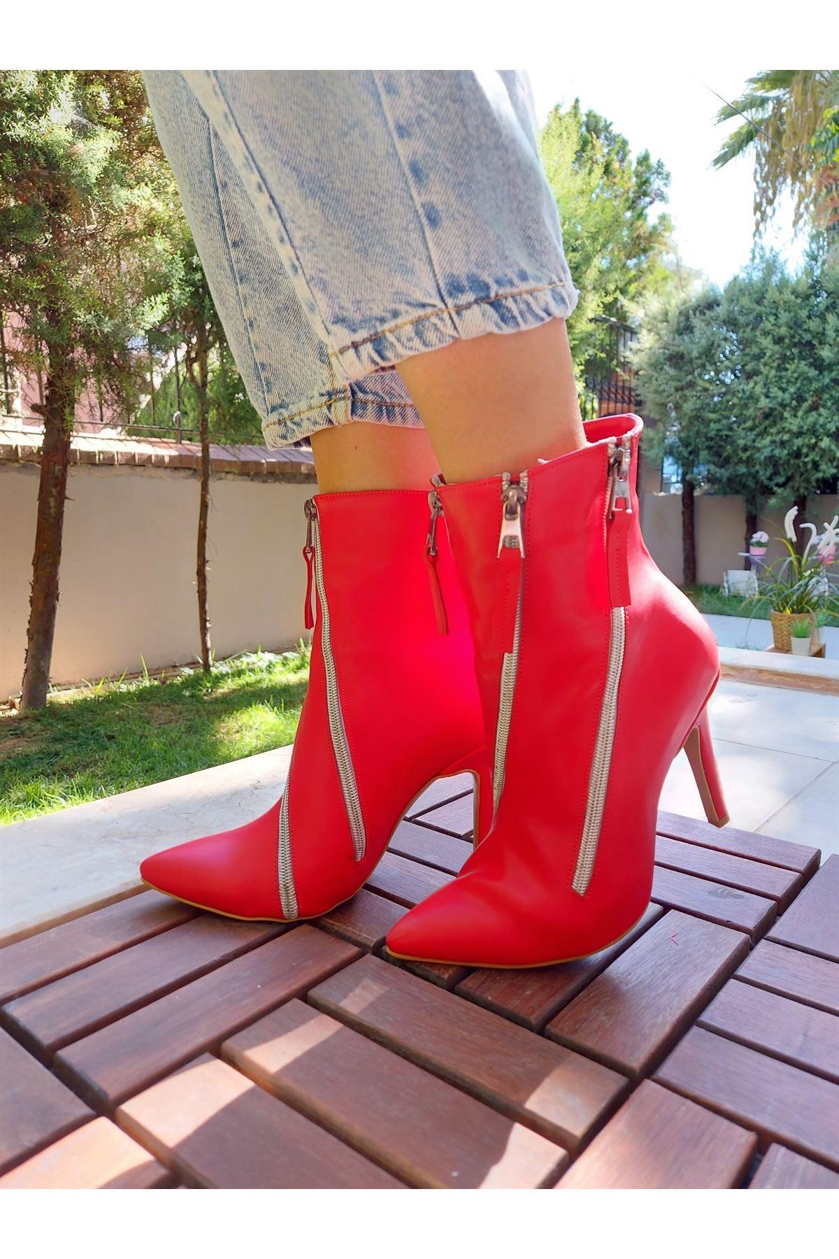 Mylo Fermuarlı Kırmızı Cilt Topuklu Bot