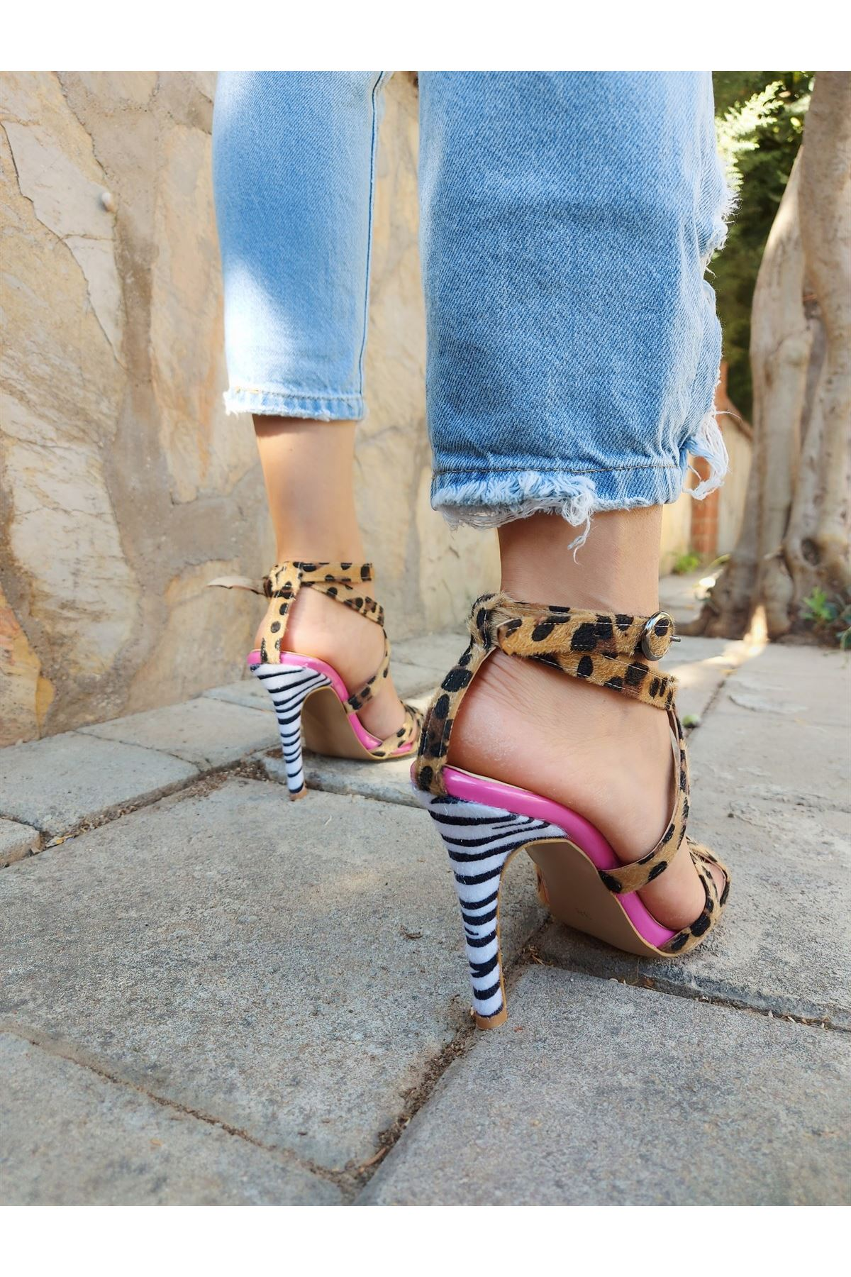 Sansa Leopar-Fuşya-Zebra Topuklu Ayakkabı