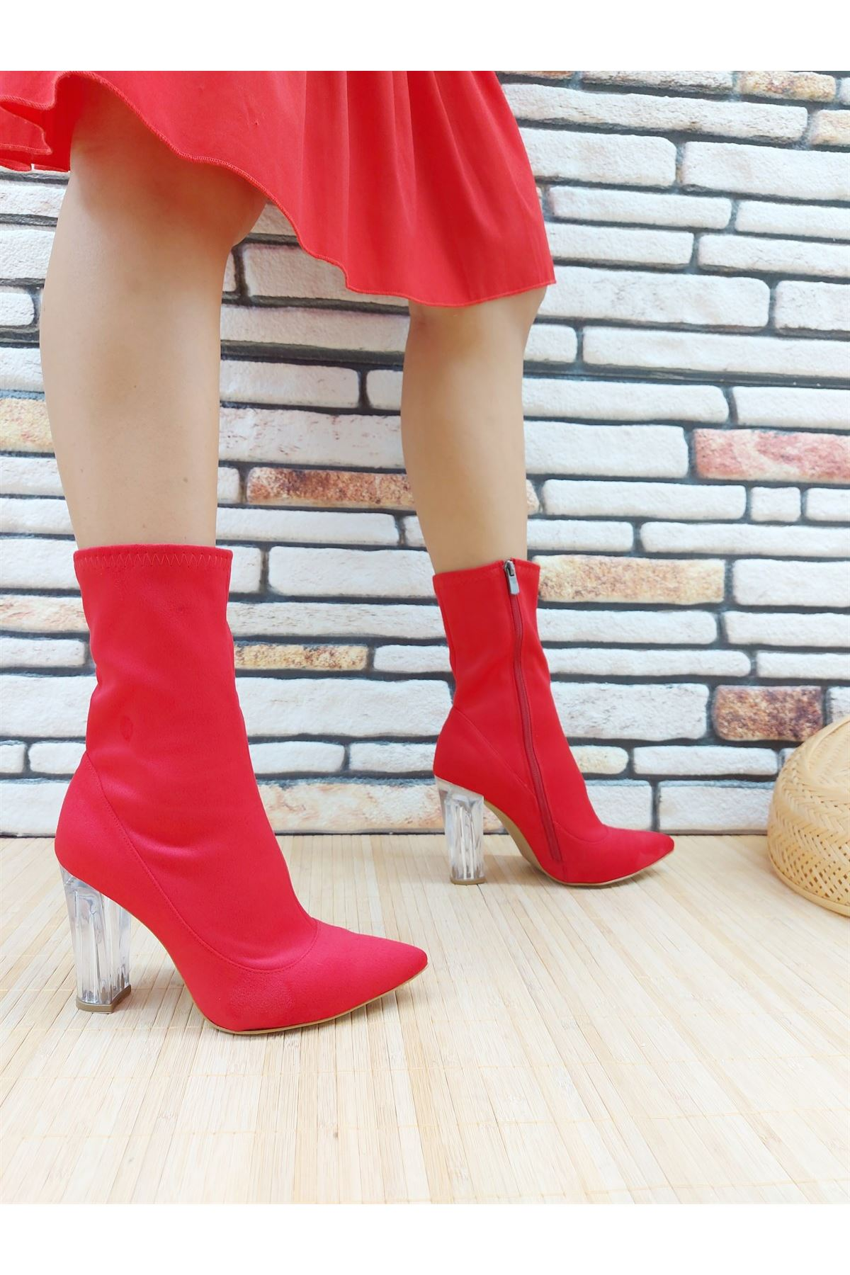 Rozan Kırmızı Süet Streç Topuklu Bot