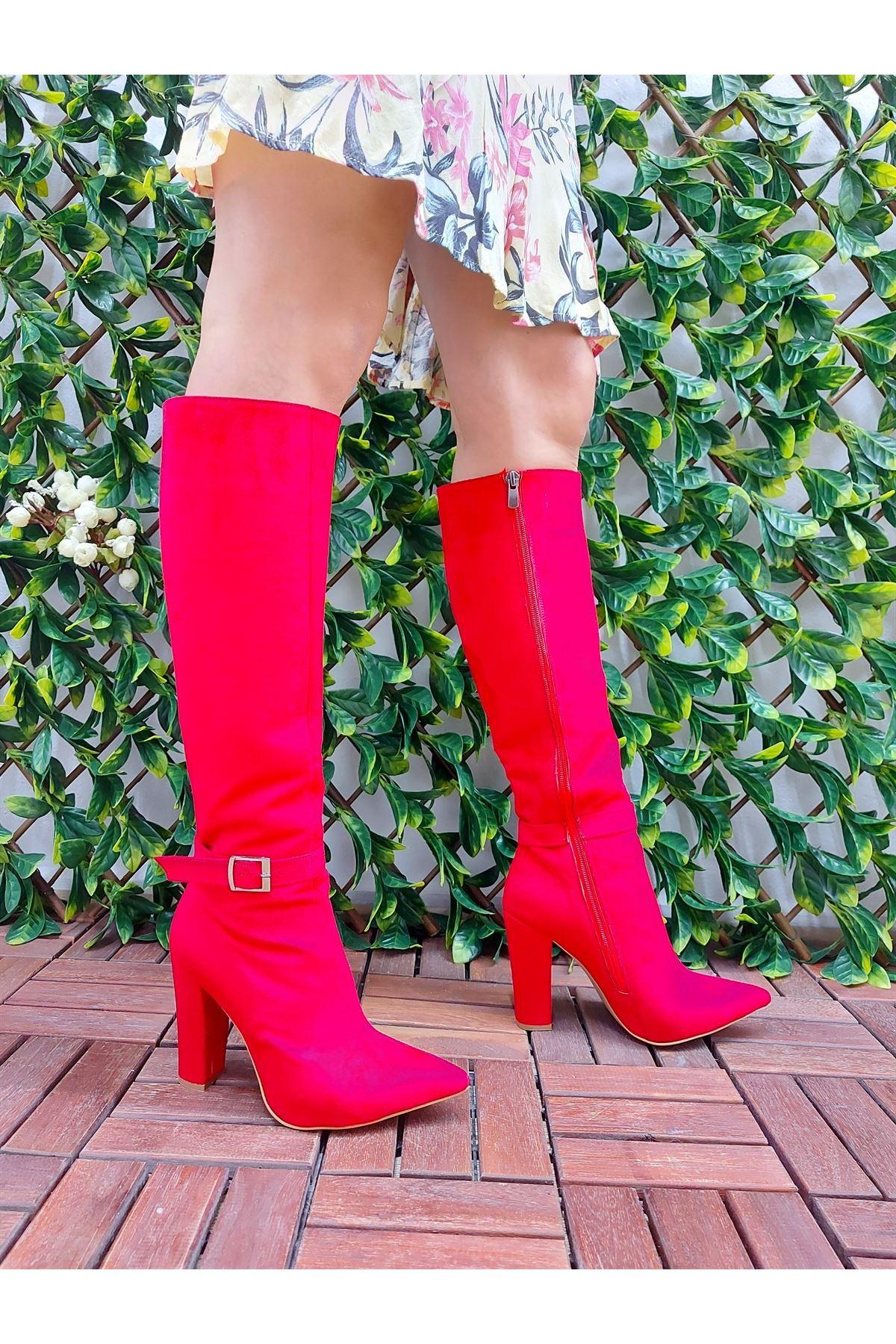 Andros Kırmızı Süet Tokalı Diz Altı Kadın Çizme