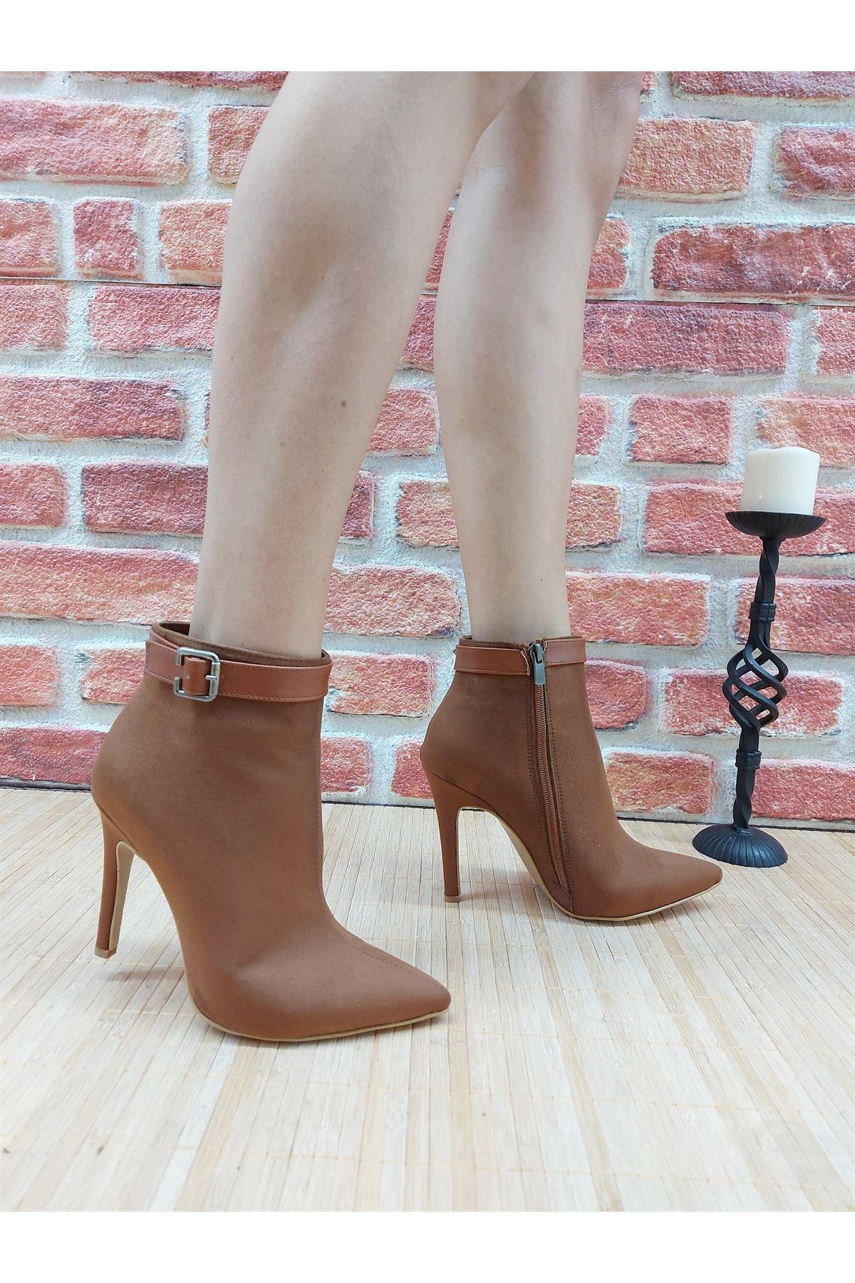 Ventos Taba Süet Stiletto Topuklu Kadın Bot