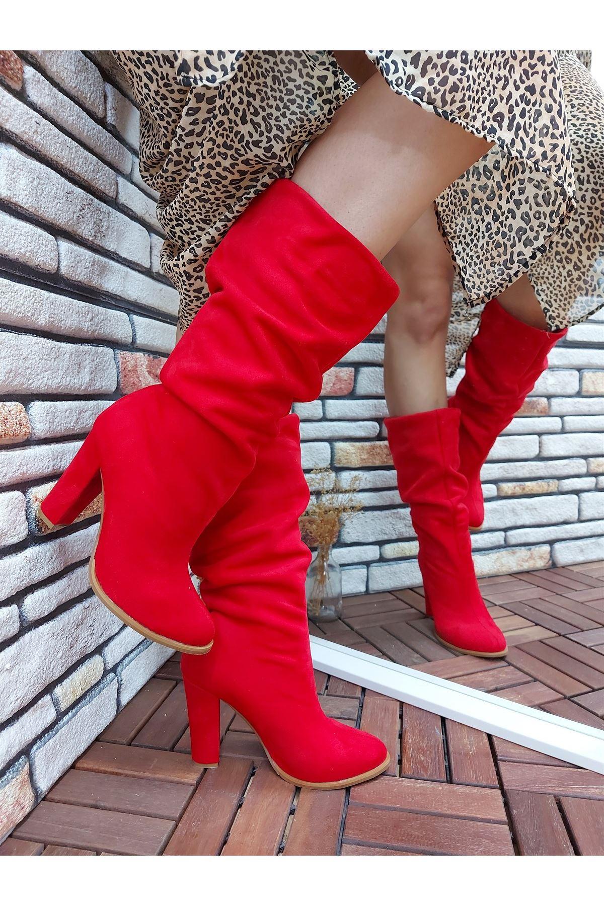 Kalde Kırmızı Süet Körüklü Kısa Kadın Çizme