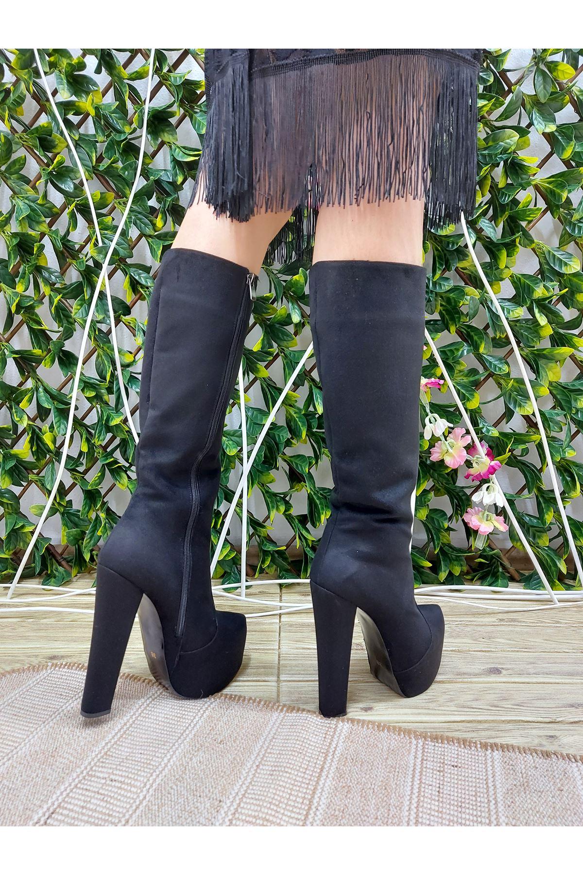 Lily Fermuarlı Siyah Süet Yüksek Topuklu Çizme