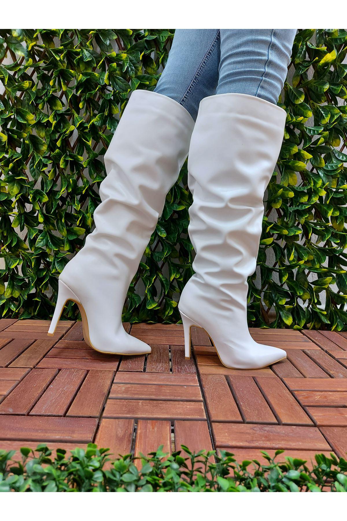 Away Beyaz Cilt Stiletto Diz Altı Topuklu Kadın Çizme