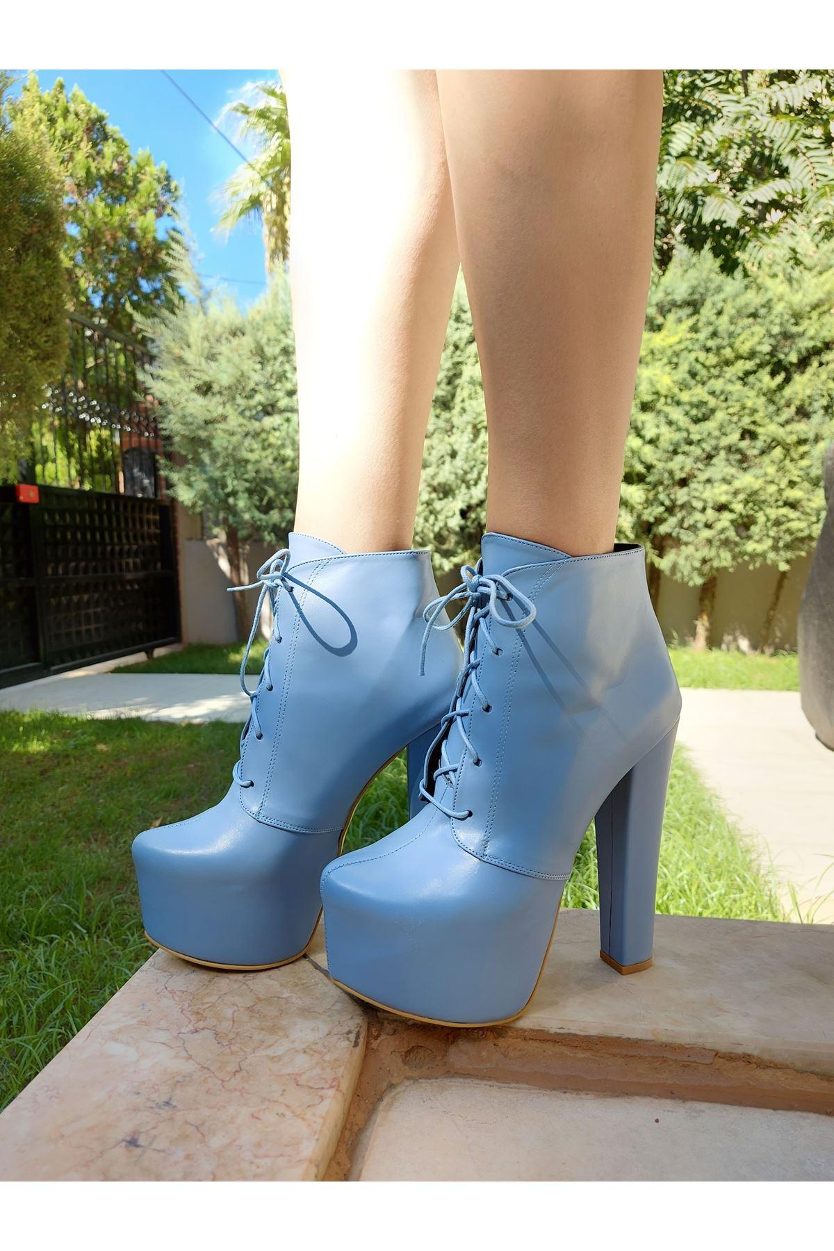 Leander Mavi Cilt Bağcıklı Yüksek Topuklu Kadın Bot