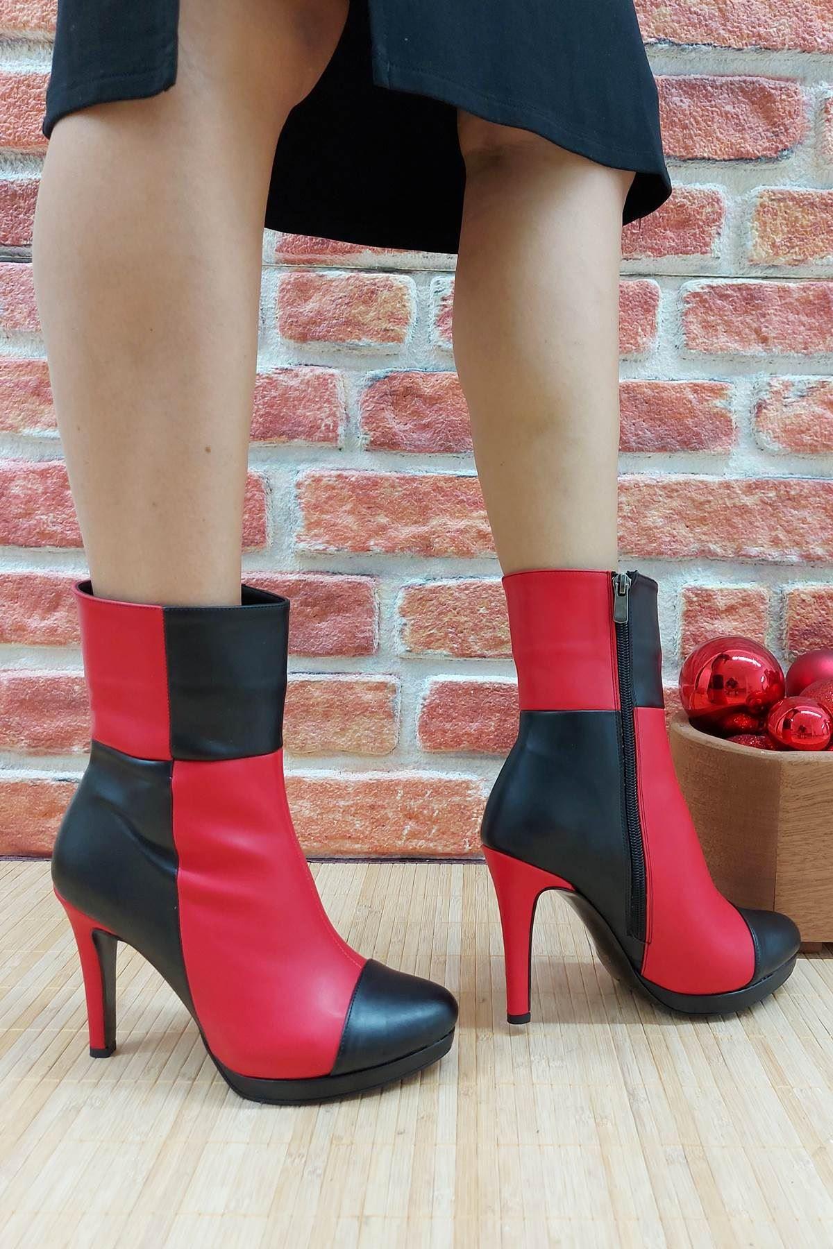 Reid Siyah-Kırmızı Cilt Topuklu Bot