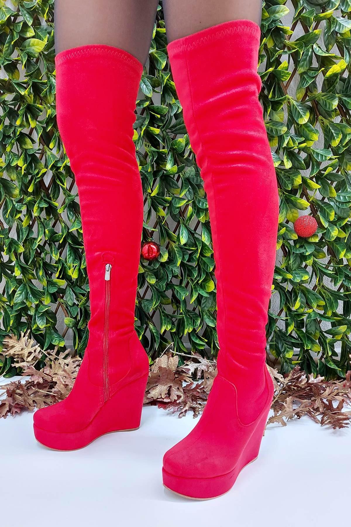 Blood Kırmızı Süet Dolgu Topuklu Diz Üstü Kadın Çizme