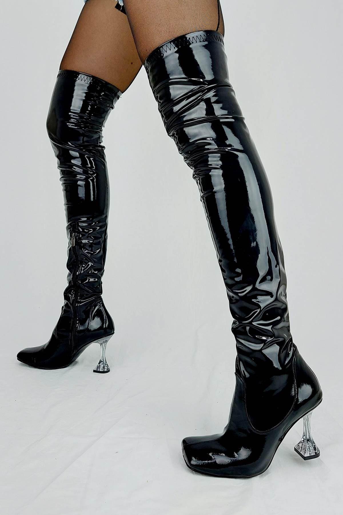 İvan Siyah Rugan Fashion Topuklu Diz Üstü Çizme
