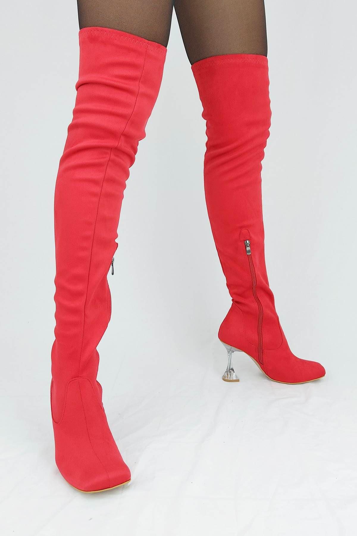 İvan Kırmızı Süet Fashion Topuklu Diz Üstü Çizme