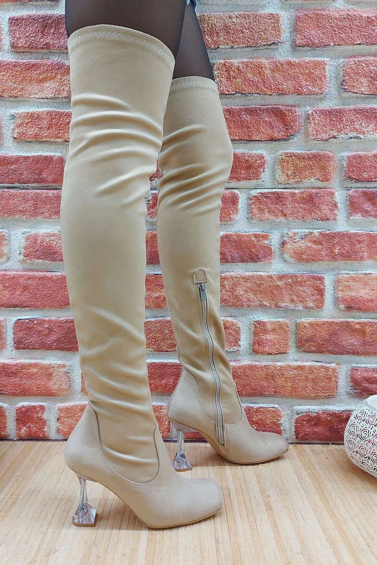 İvan Ten Süet Fashion Topuklu Diz Üstü Çizme