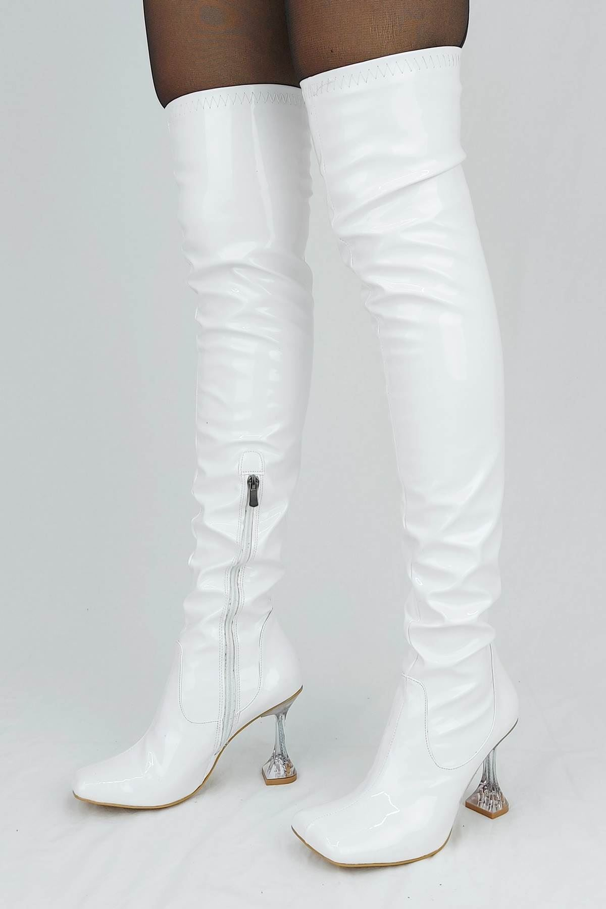 İvan Beyaz Cilt Fashion Topuklu Diz Üstü Çizme