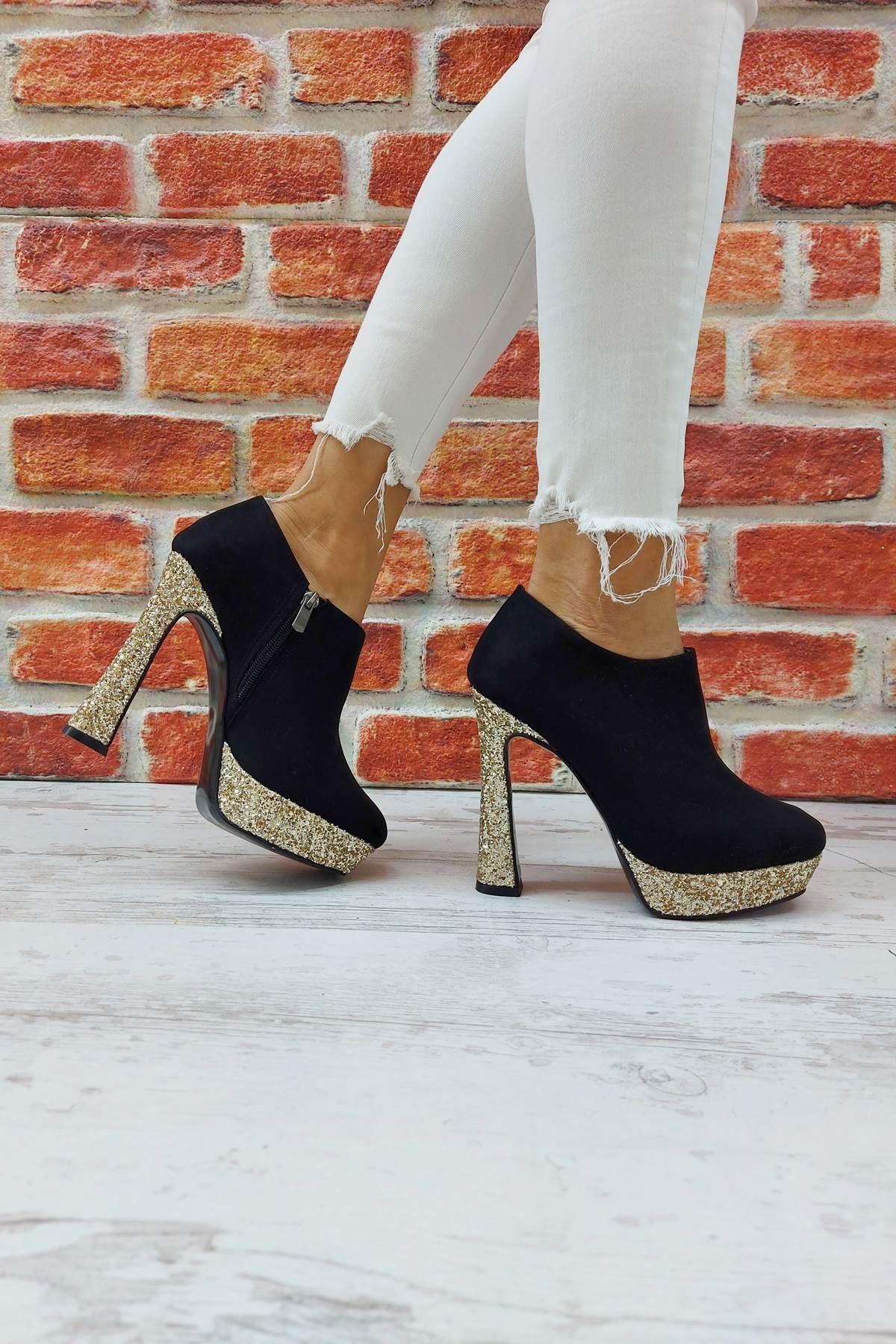 Cattle Siyah - Gold Topuklu Kadın Bot