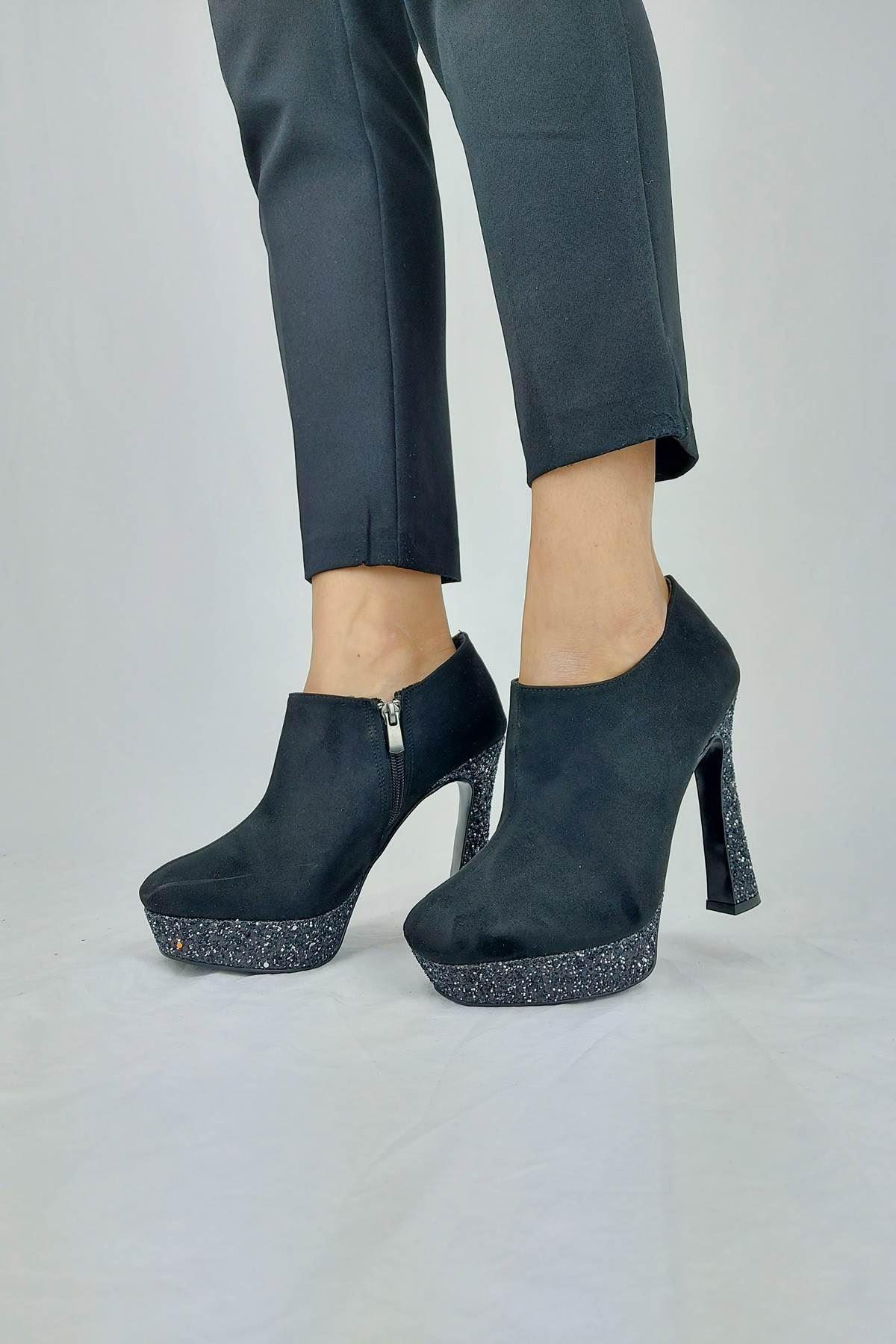 Cattle Siyah Süet - Platin Topuklu Kadın Bot