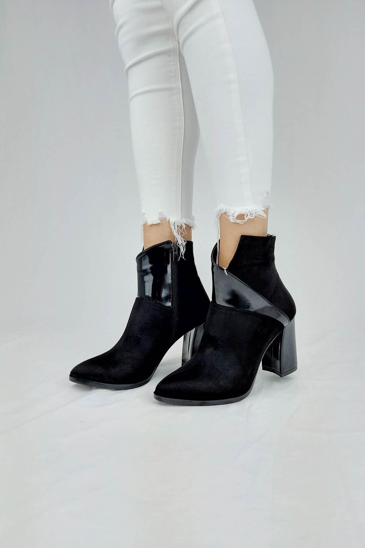 İvita Siyah Süet - Rugan Topuklu Bootie