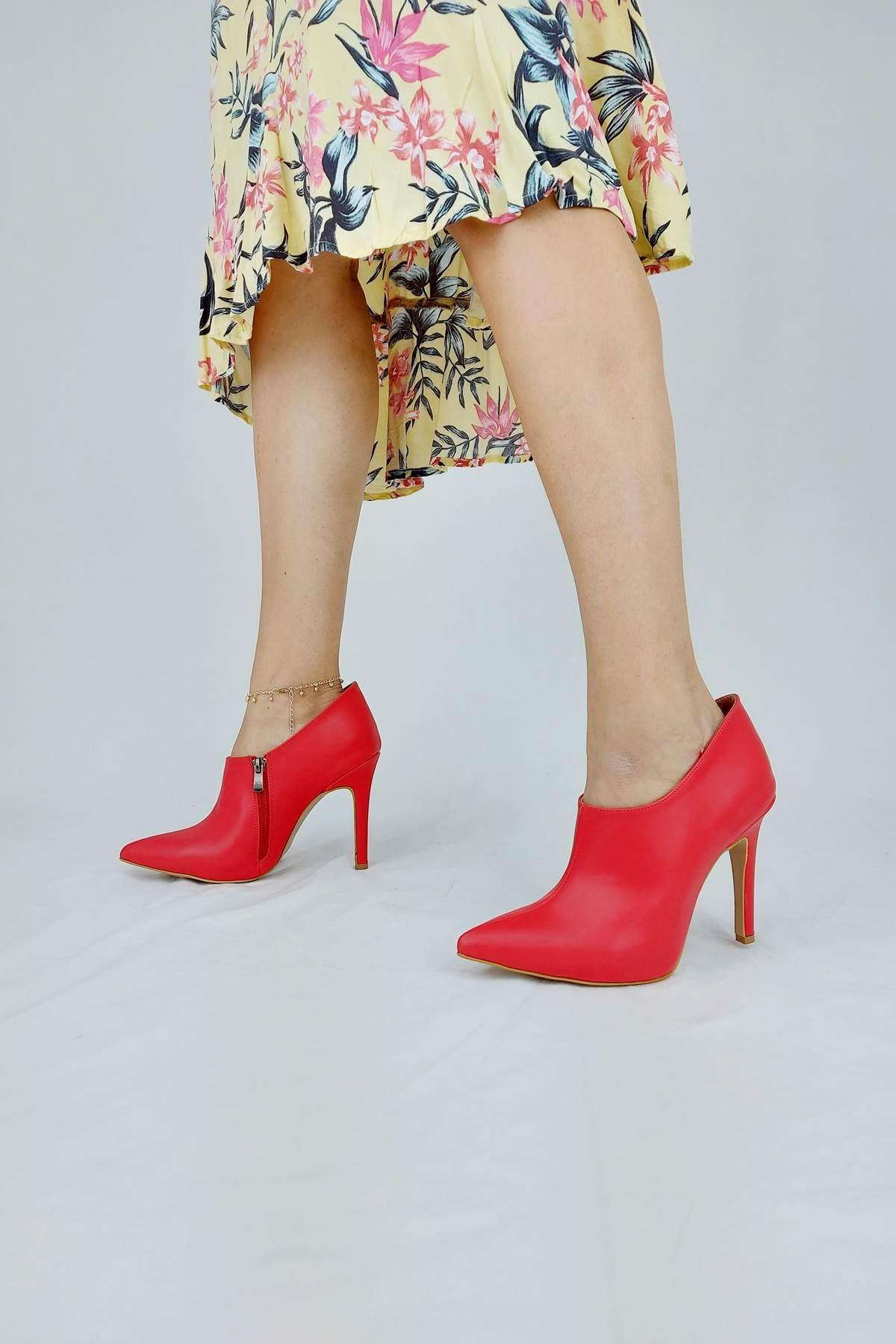 Nora Kırmızı Cilt Stiletto Bot