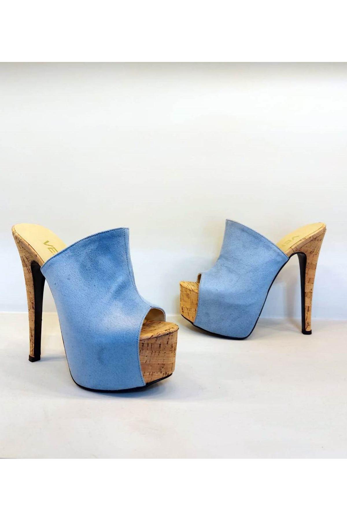 00513 Mantar-Bebe Mavi Süet Yüksek Topuklu Terlik