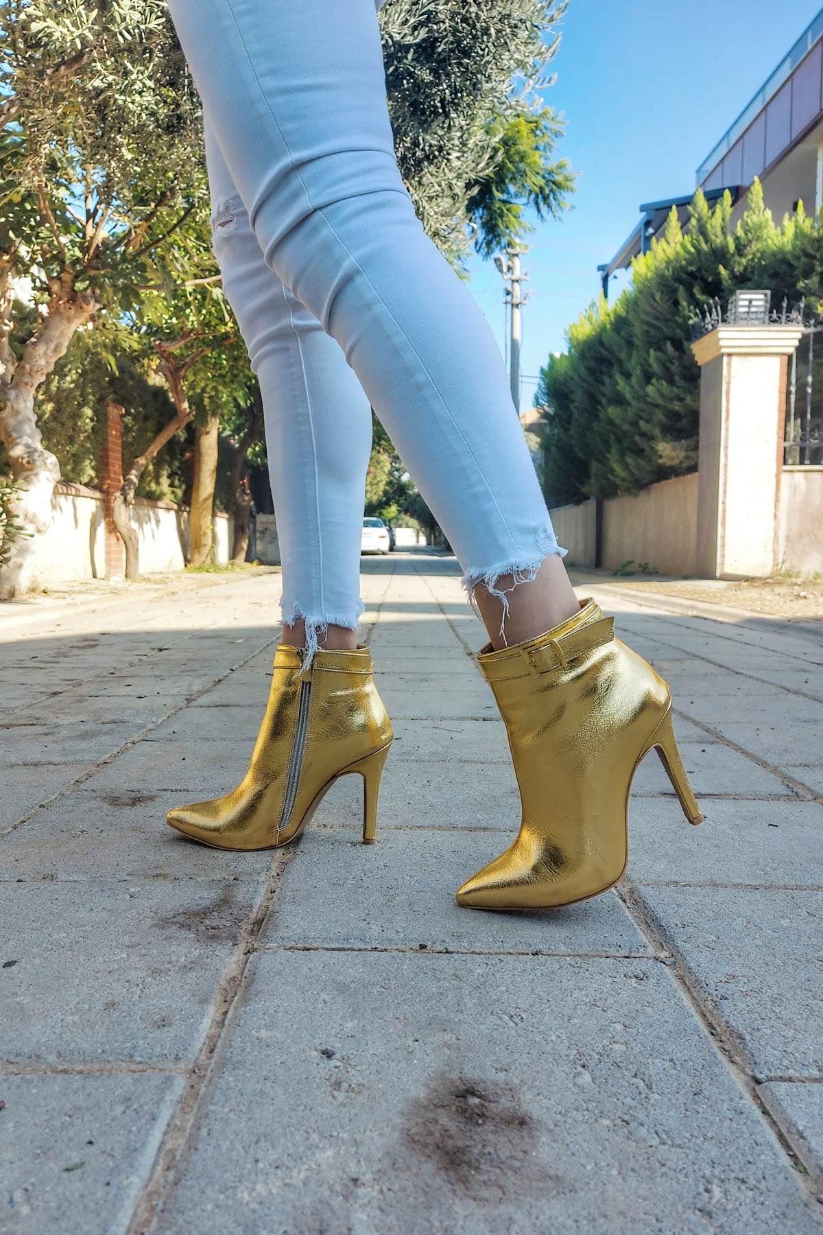 Ventos Gold Kırışık Topuklu Kadın Bot