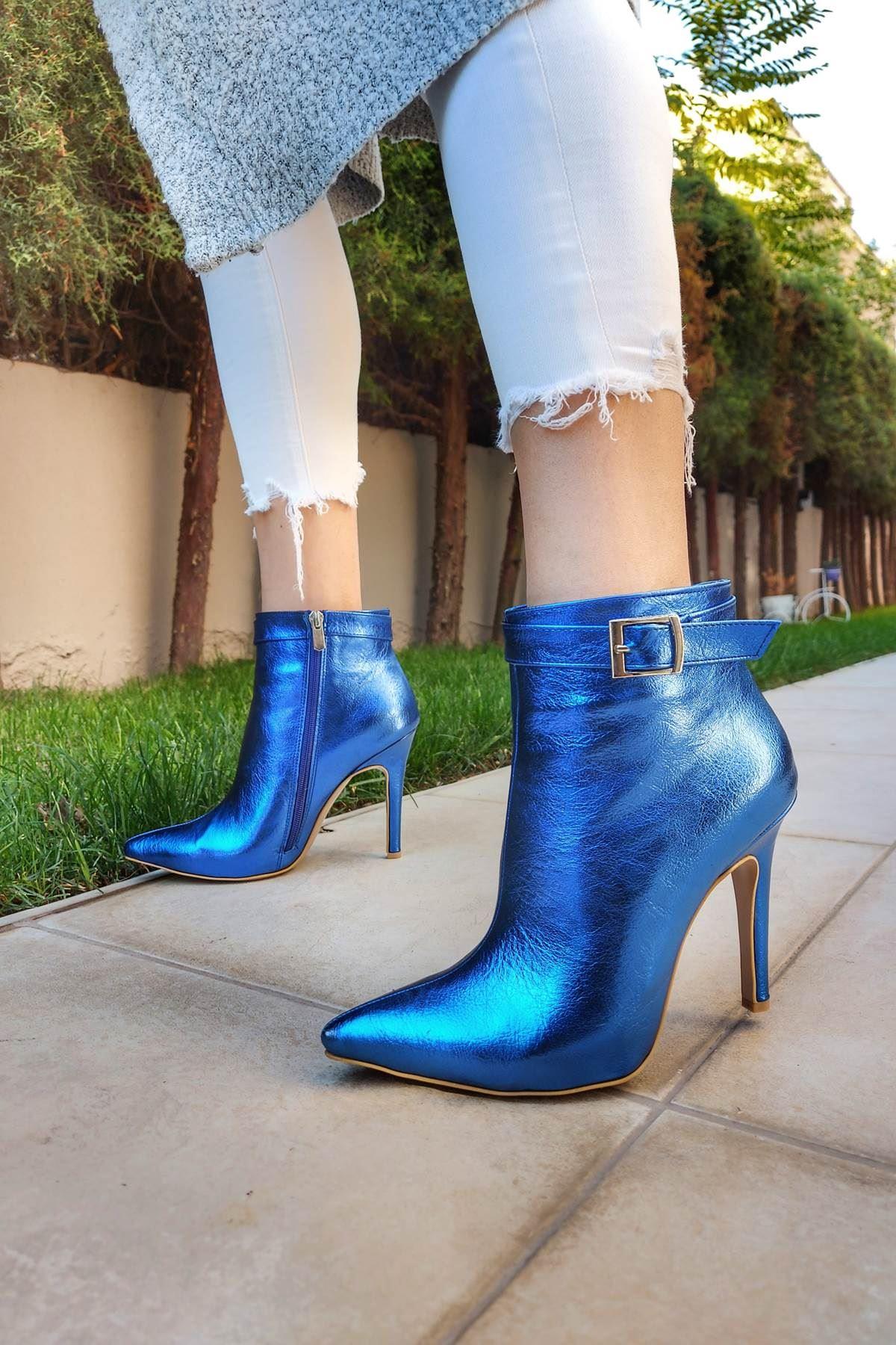Ventos Sax Mavi Kırışık Topuklu Kadın Bot
