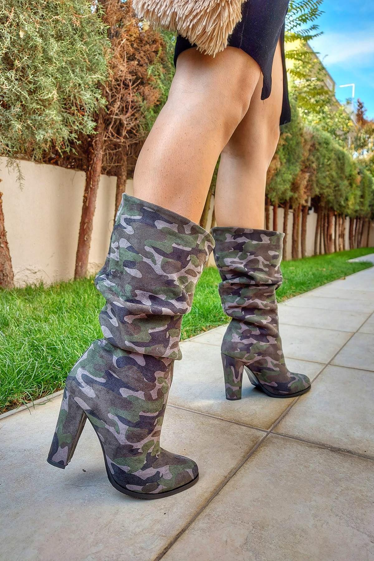 Kalde Kamuflaj Topuklu Kadın Çizme