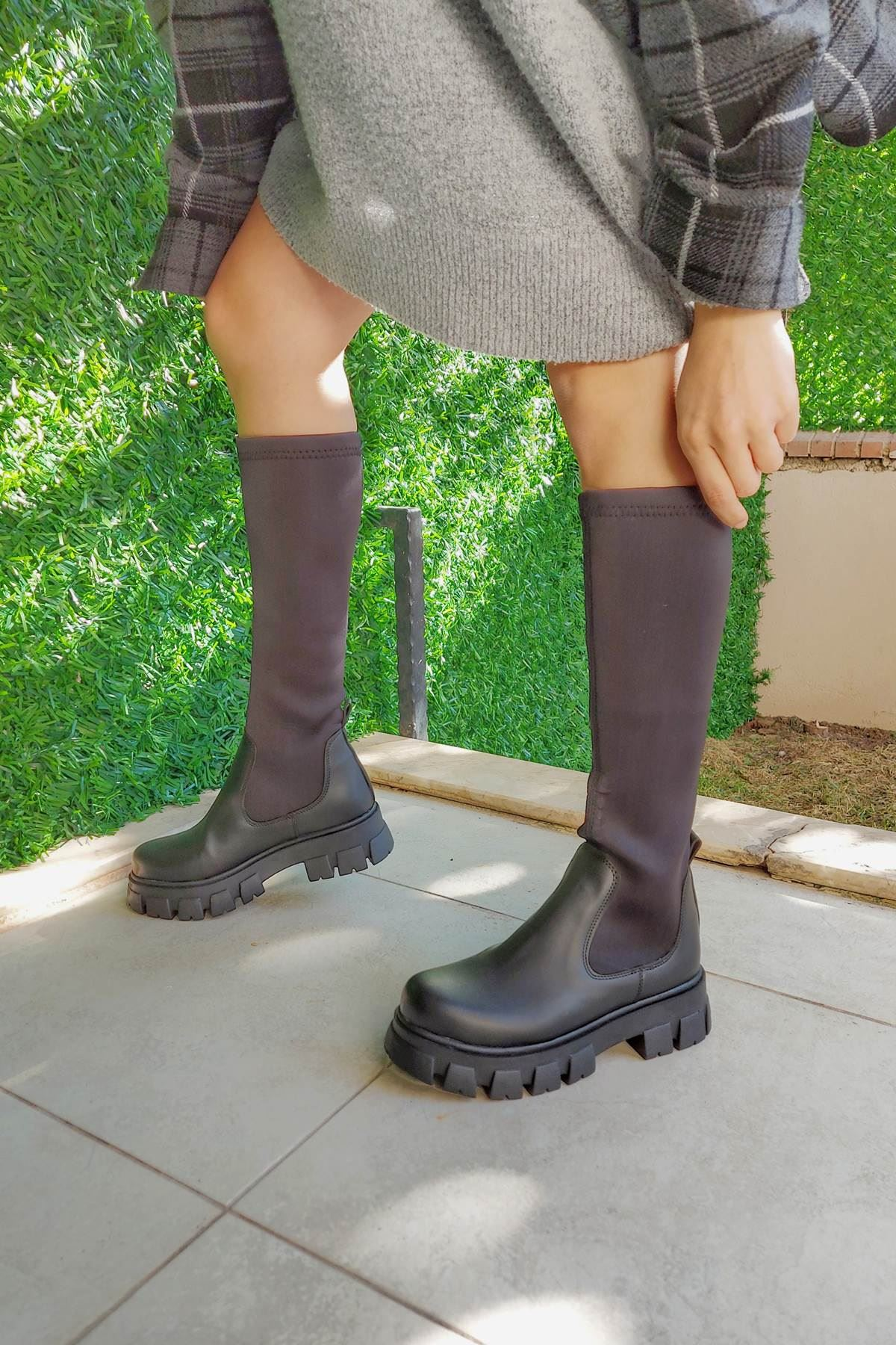 Flue Siyah Cilt Streç Çizme