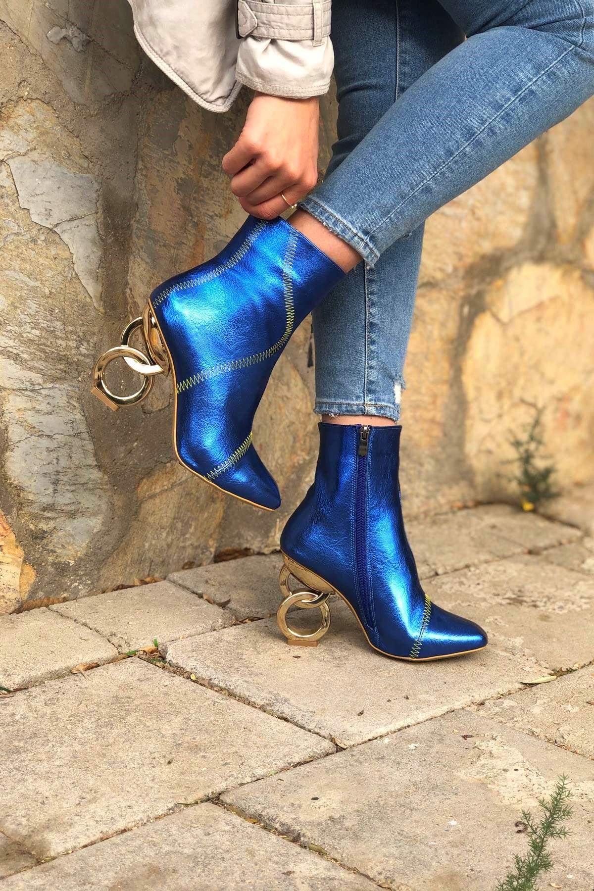 Triyaki Sax Mavi Kırışık Halka Topuklu Bot