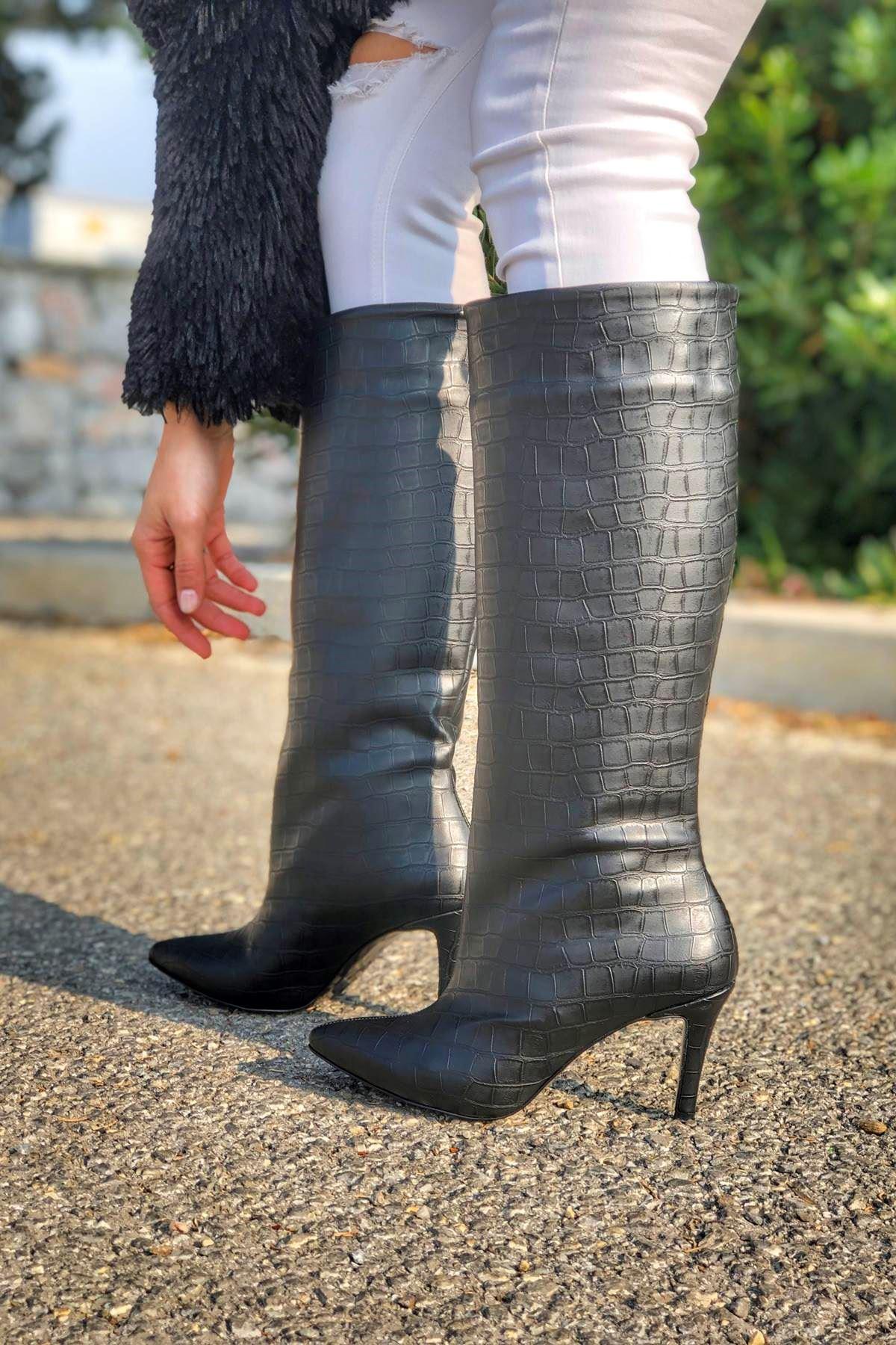 Cardin Siyah Kroko Çekme Kadın Çizme